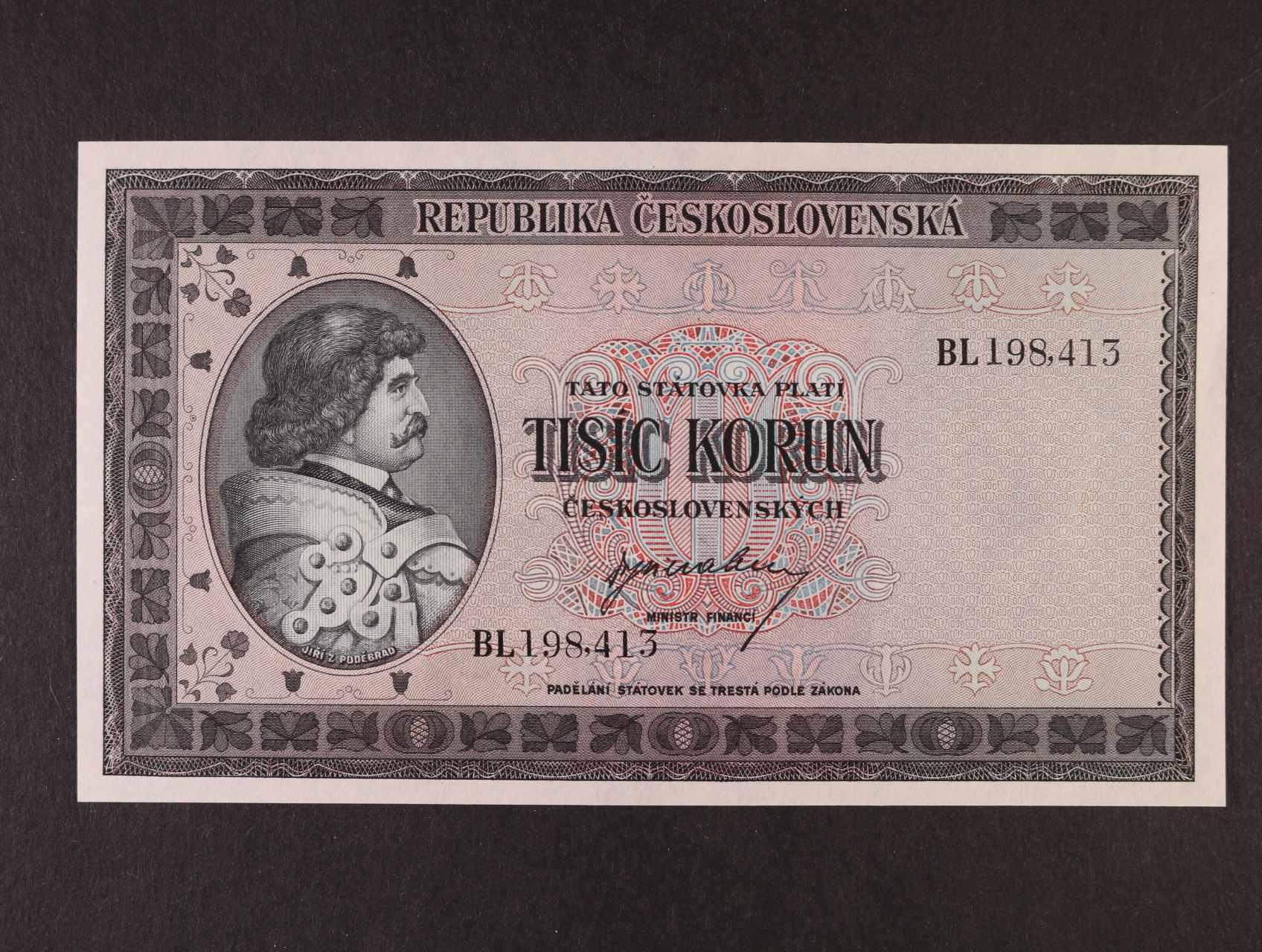 1000 Kčs 1945 série BL, Ba. 76, Pi. 65a