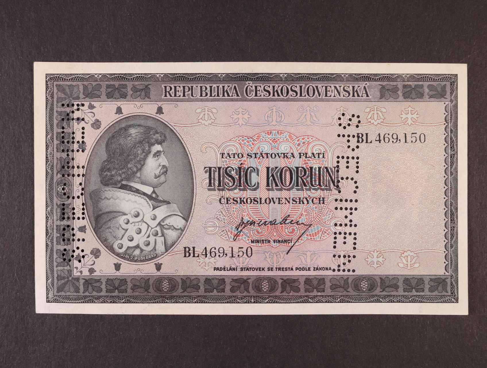 1000 Kčs 1945 série BL bankovní vzor s 2x svisle perf. SPECIMEN, Ba. 76, Pi. 65s, Kar. 73c