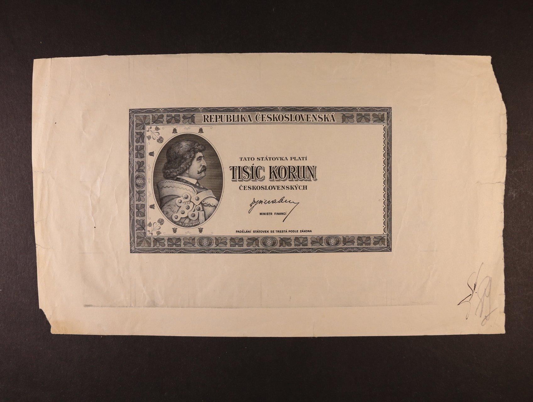 1000 Kčs 1945 jednostranný nátisk lícní strany bez podtisků na křídovém papíře velkého formátu, schvalovací podpisy, Ba. 76, zajímavý dokument