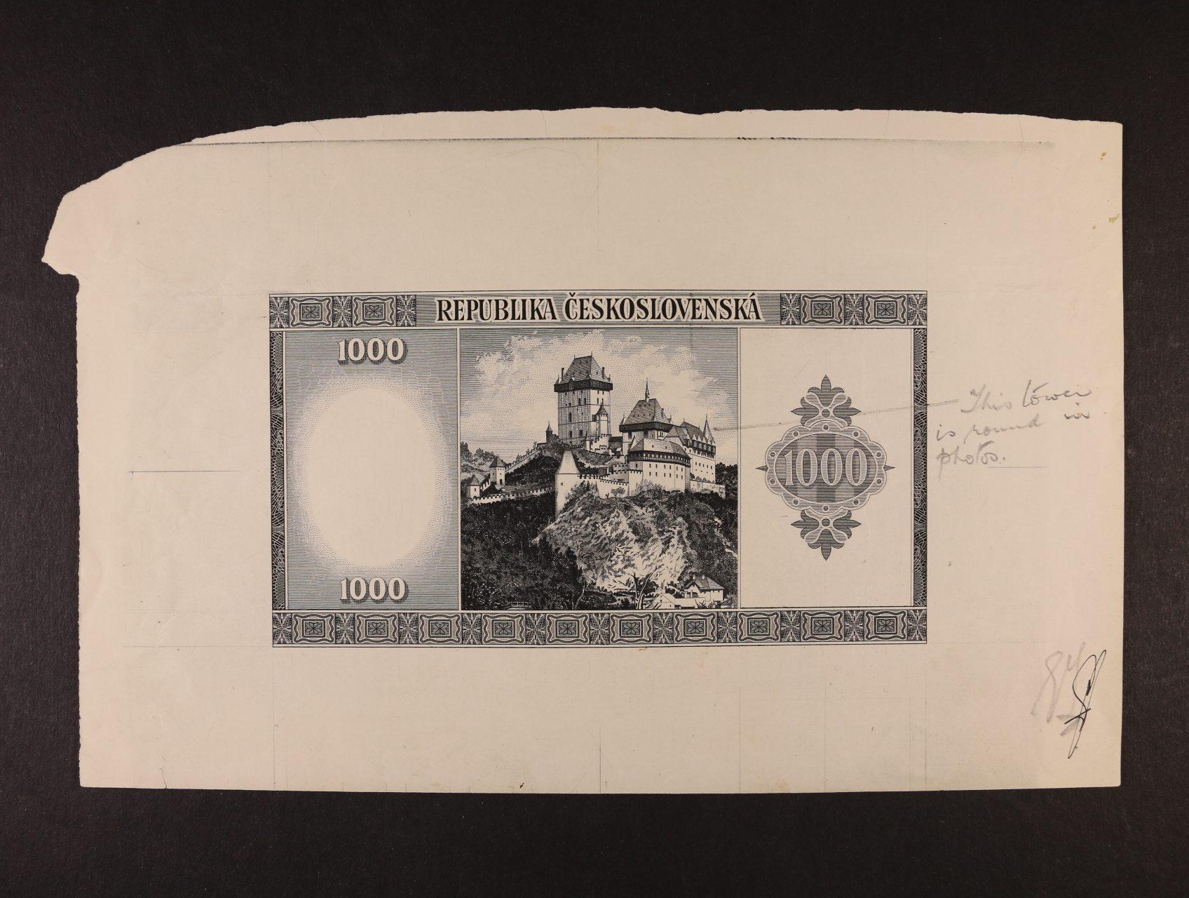 1000 Kčs 1945 jednostranný nátisk rubové strany bez podtisků na křídovém papíře velkého formátu, schvalovací poznámky a podpisy, Ba. 76, zajímavý dokument