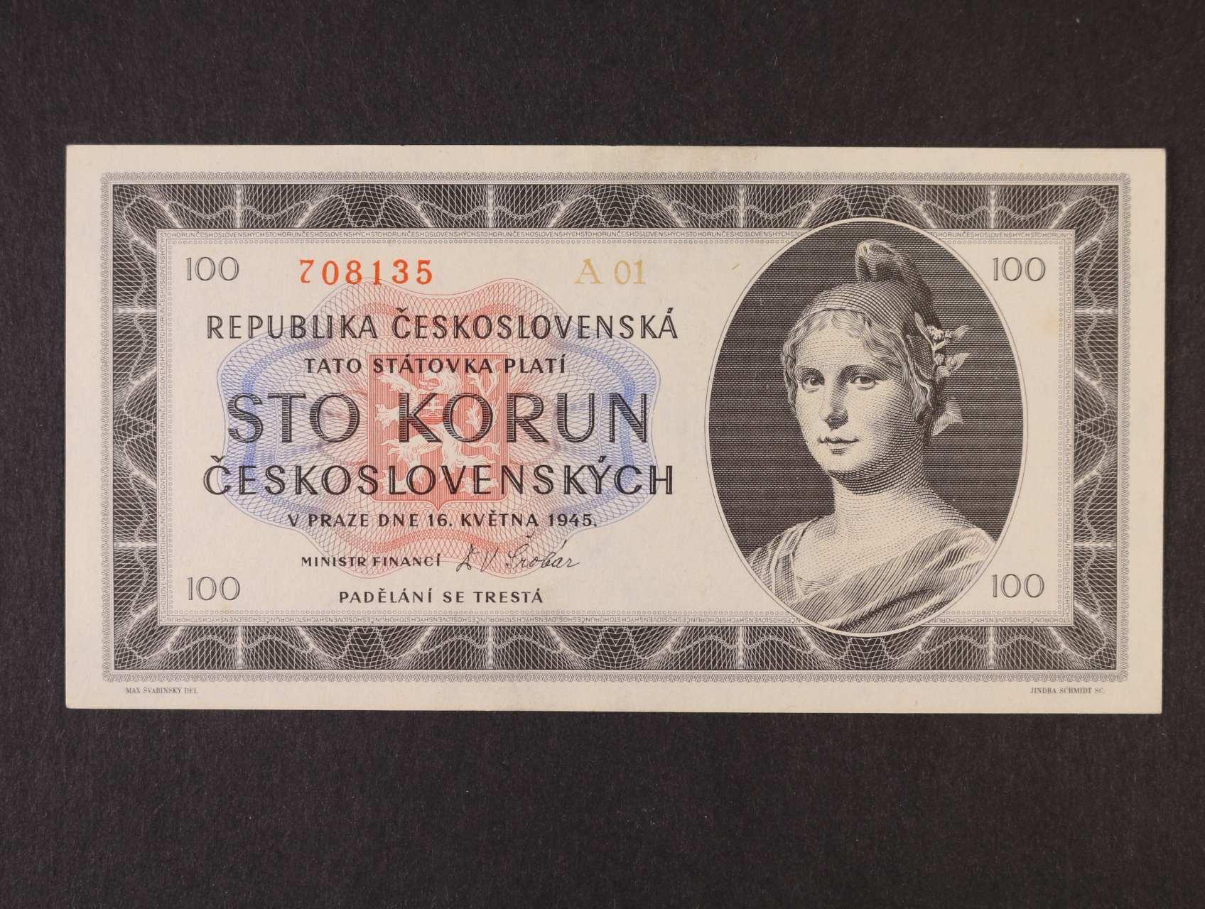 100 Kčs 16.5.1945 série A 01, Ba. 77a1, Pi. 67a