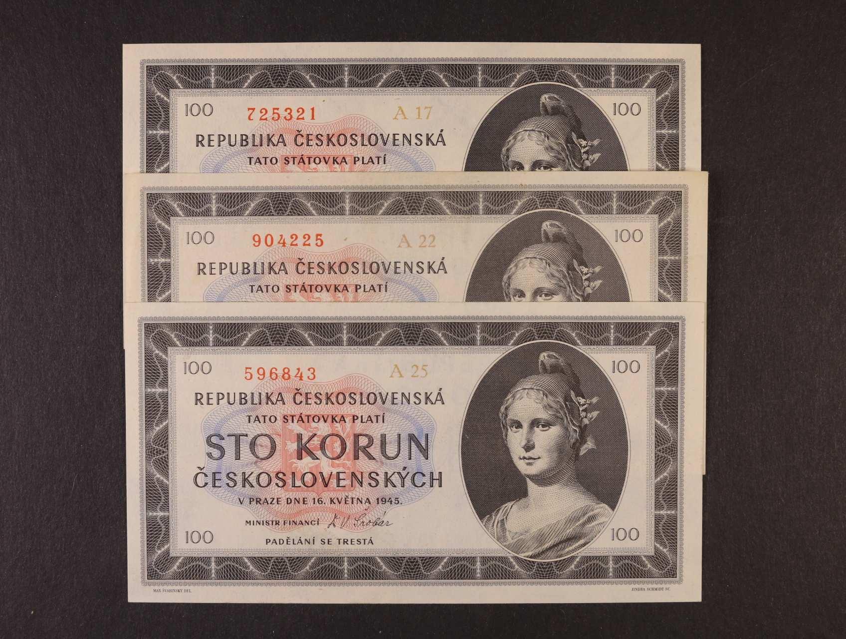 100 Kčs 16.5.1945 série A 17, 22, 25, Ba. 77a1, Pi. 67a, 3ks