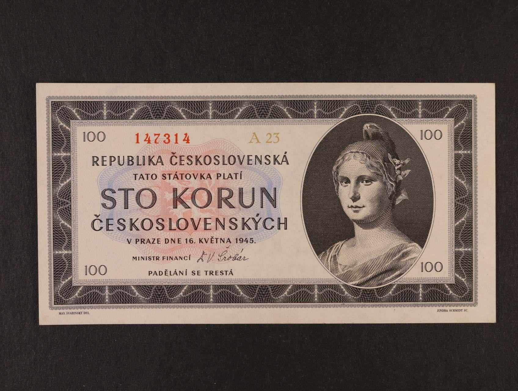 100 Kčs 16.5.1945 série A 23, Ba. 77a1, Pi. 67a