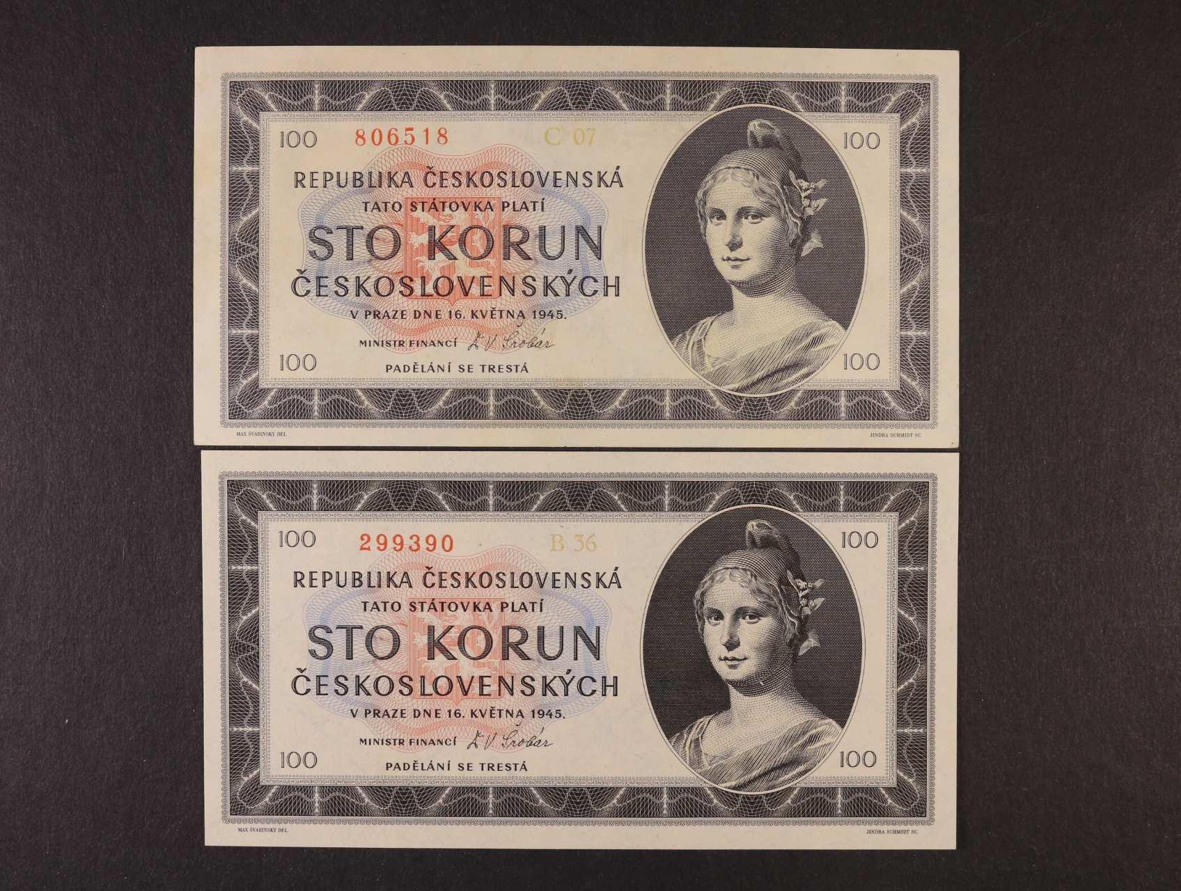100 Kčs 16.5.1945 série B 36, C 07, Ba. 77a1, 77b1, Pi. 67a, 2ks