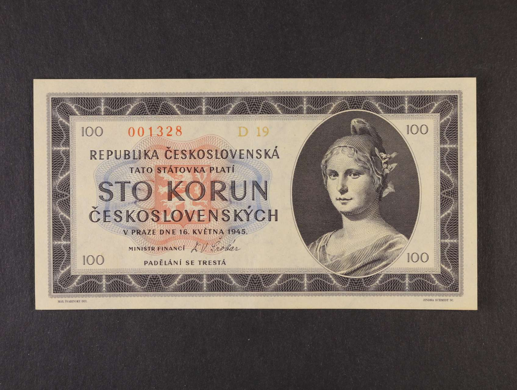100 Kčs 16.5.1945 série D 19, Ba. 77b2, Pi. 67a