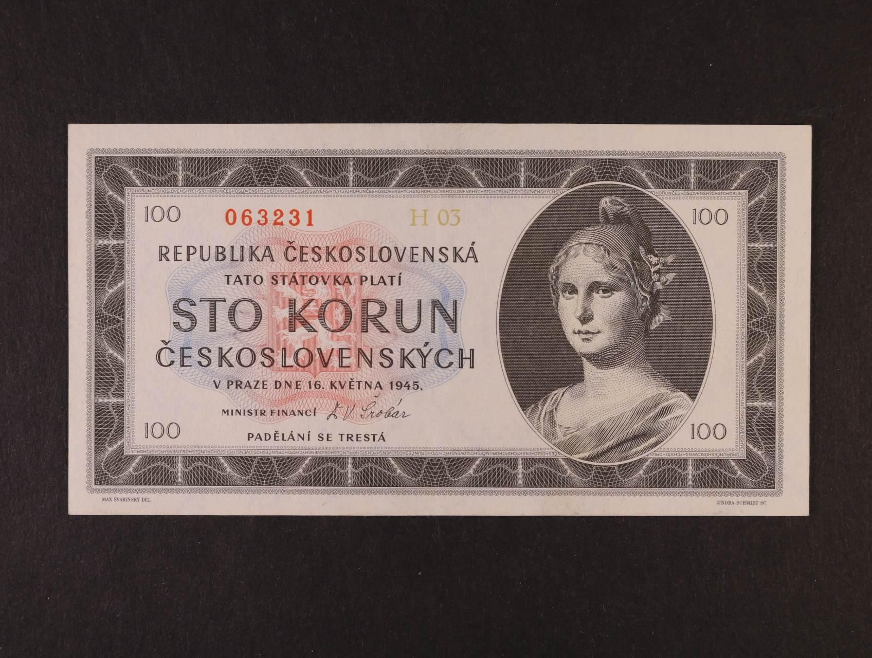 100 Kčs 16.5.1945 série H 03, Ba. 77a2, Pi. 67a