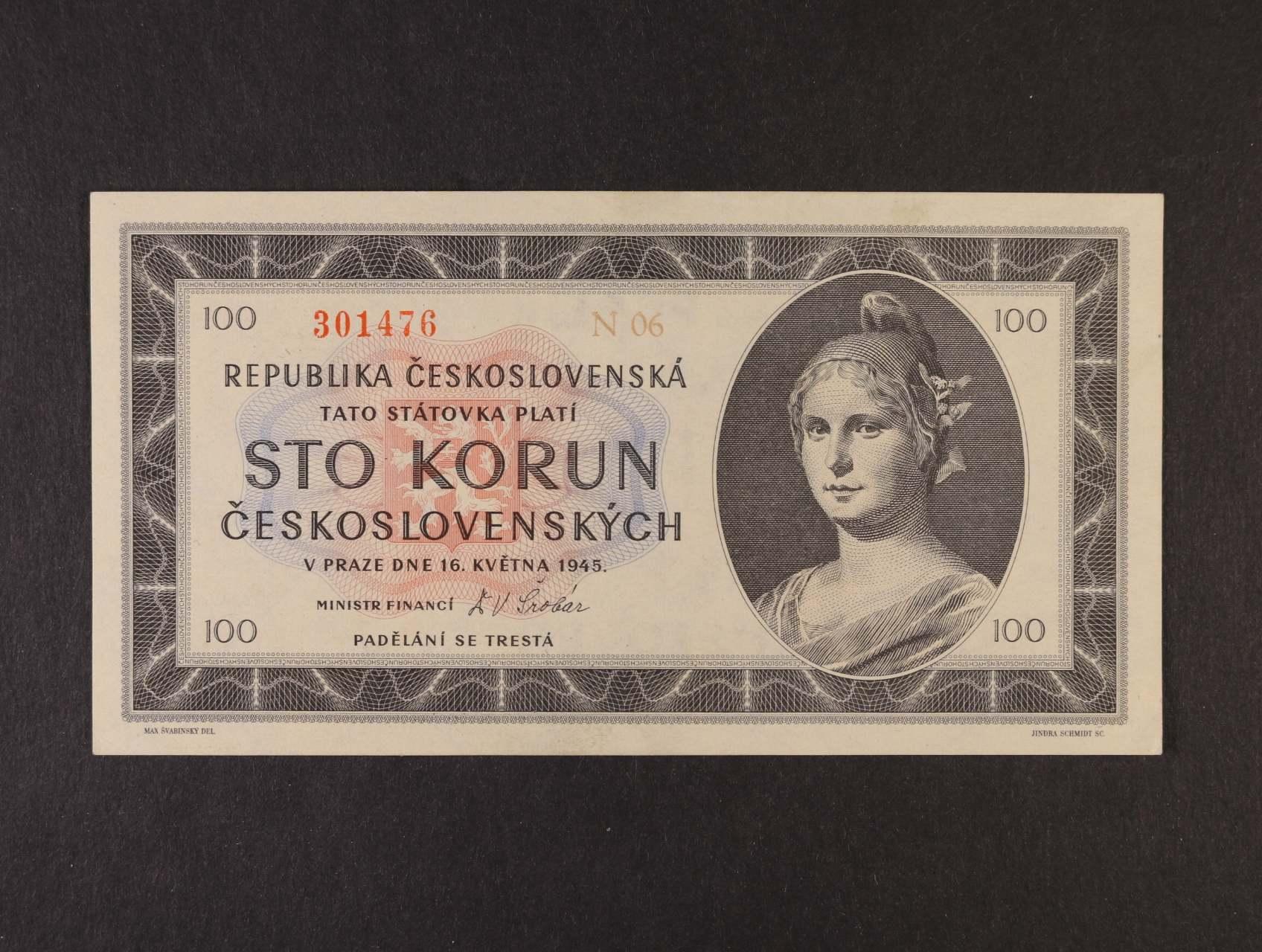 100 Kčs 16.5.1945 série N 06, Ba. 77c, Pi. 67a