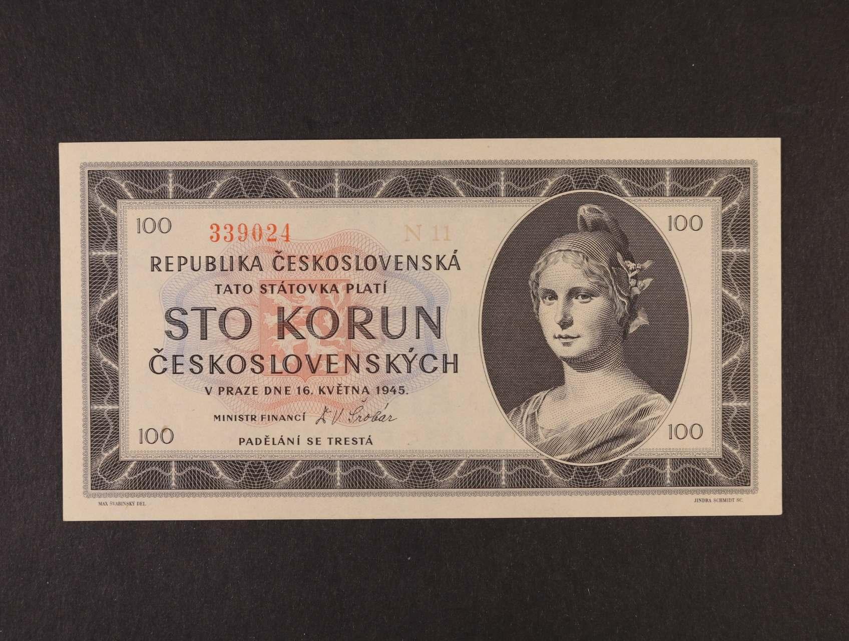 100 Kčs 16.5.1945 série N 11, Ba. 77c, Pi. 67a