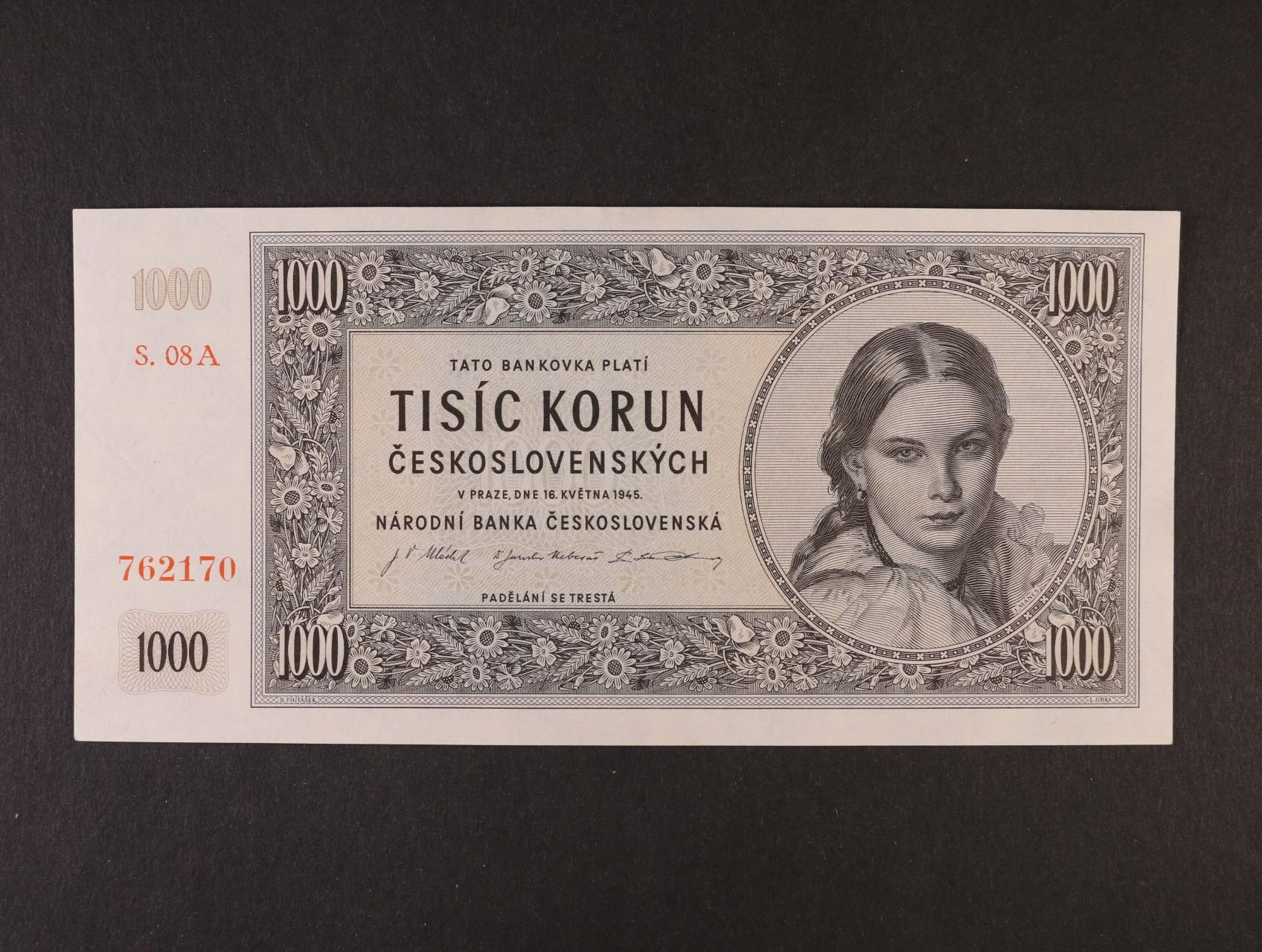 1000 Kčs 16.5.1945 série 08 A, Ba. 78a, Pi. 74a
