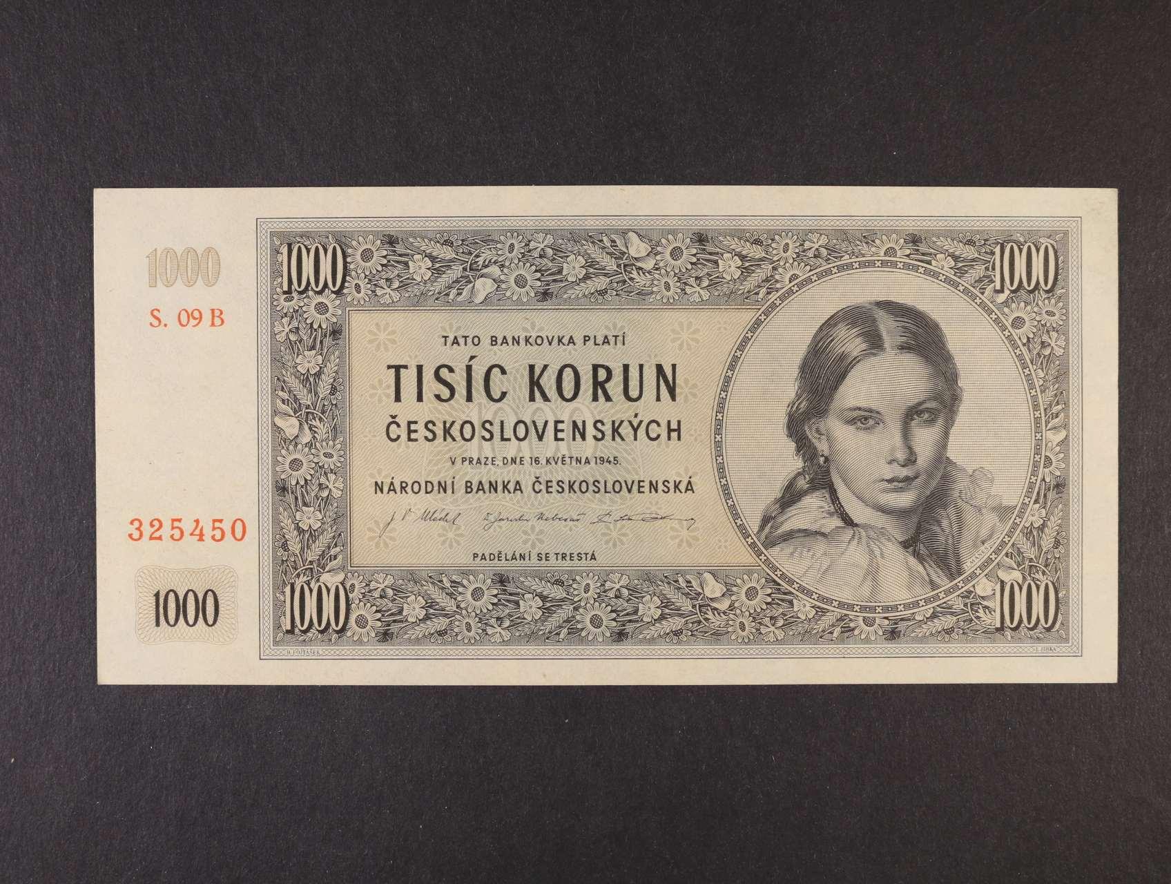 1000 Kčs 16.5.1945 série 09 B, Ba. 78b, Pi. 74a