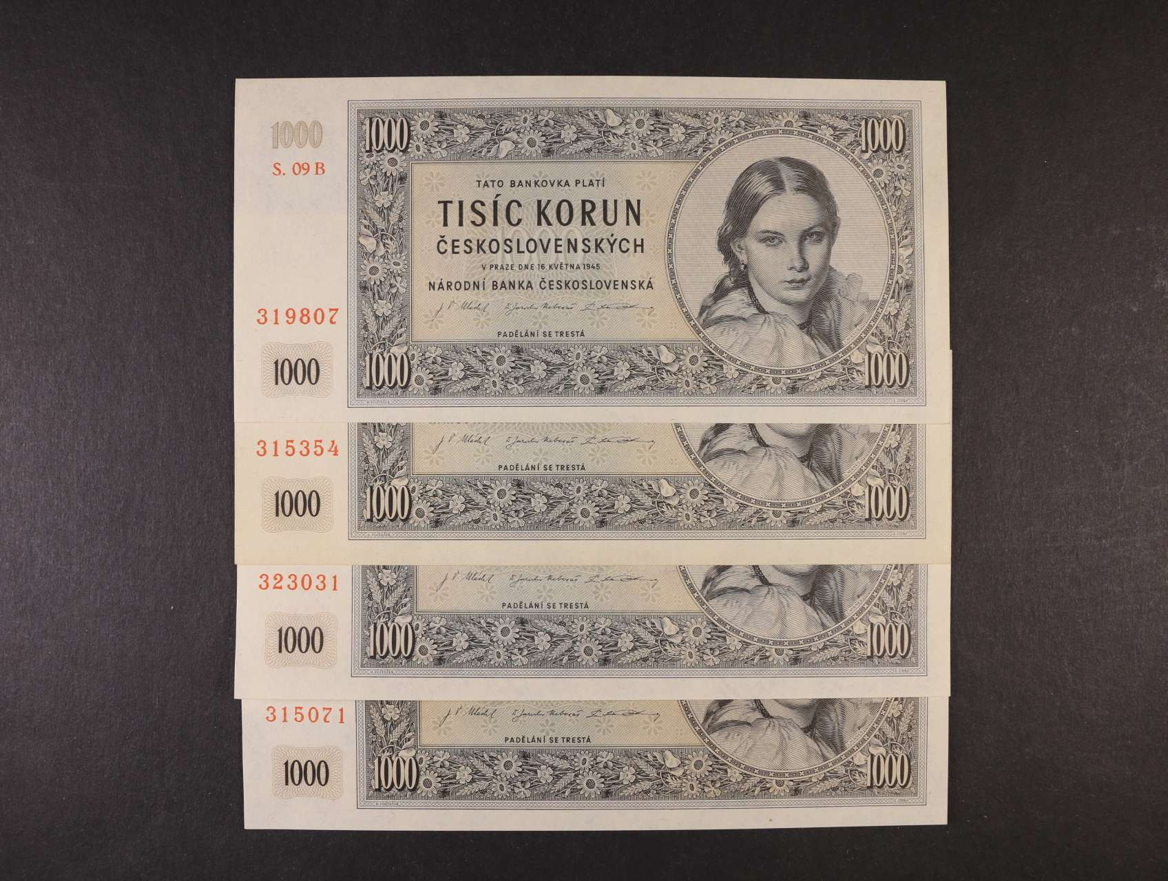 1000 Kčs 16.5.1945 série 09 B, 17 B, 20 b, 28 B, Ba. 78b, Pi. 74a, 4ks