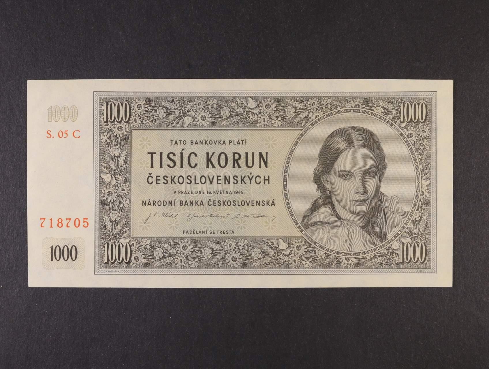 1000 Kčs 16.5.1945 série 05 C, Ba. 78c1, Pi. 74a