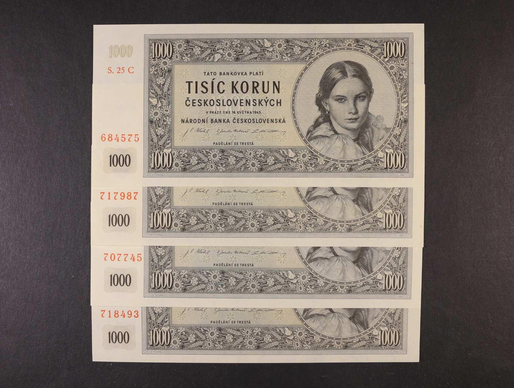 1000 Kčs 16.5.1945 série 05 C, 12 C, 16 C, 25 C, Ba. 78c1, Pi. 74a, 4ks