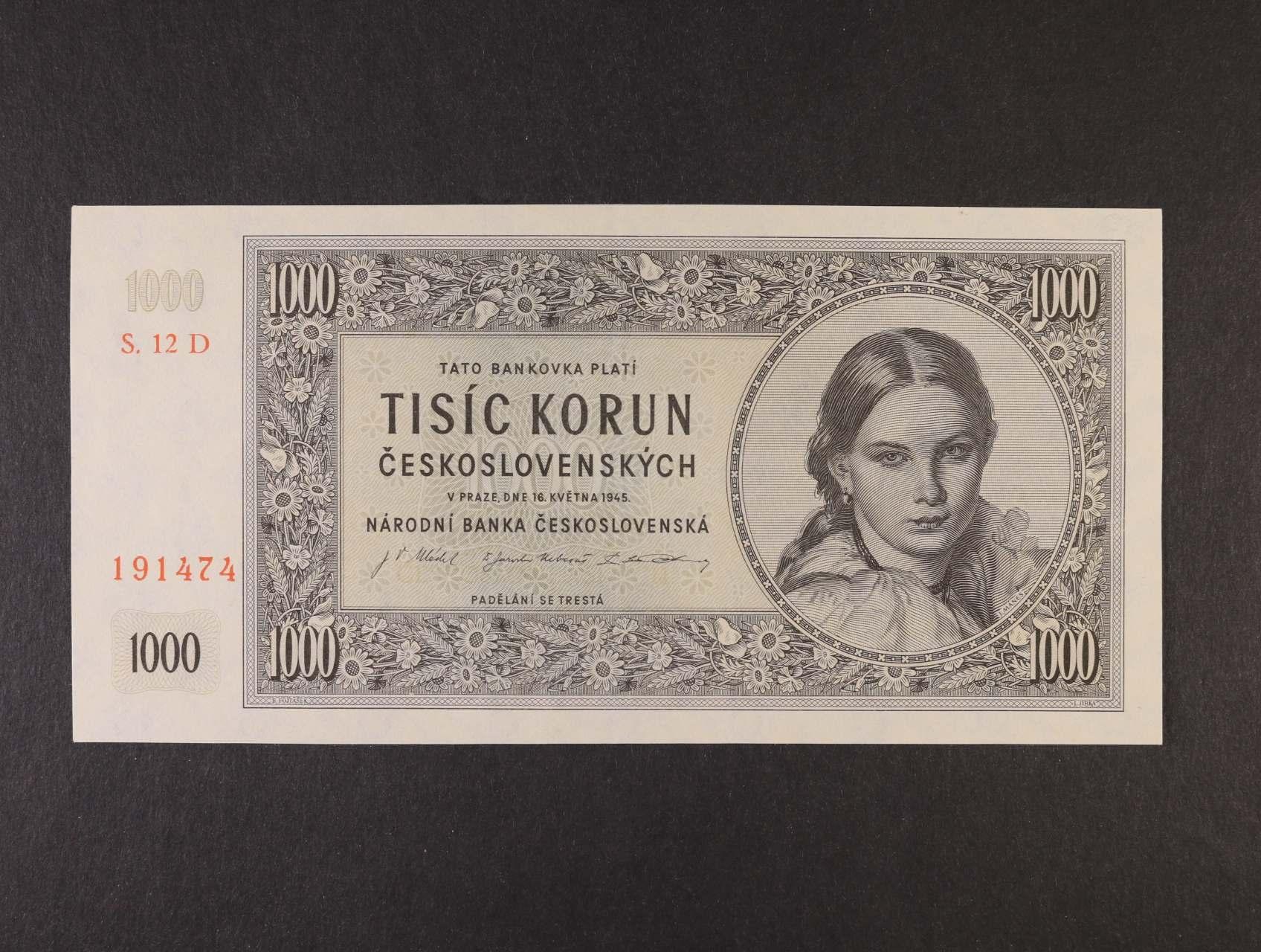 1000 Kčs 16.5.1945 série 12 D, Ba. 78c2, Pi. 74a
