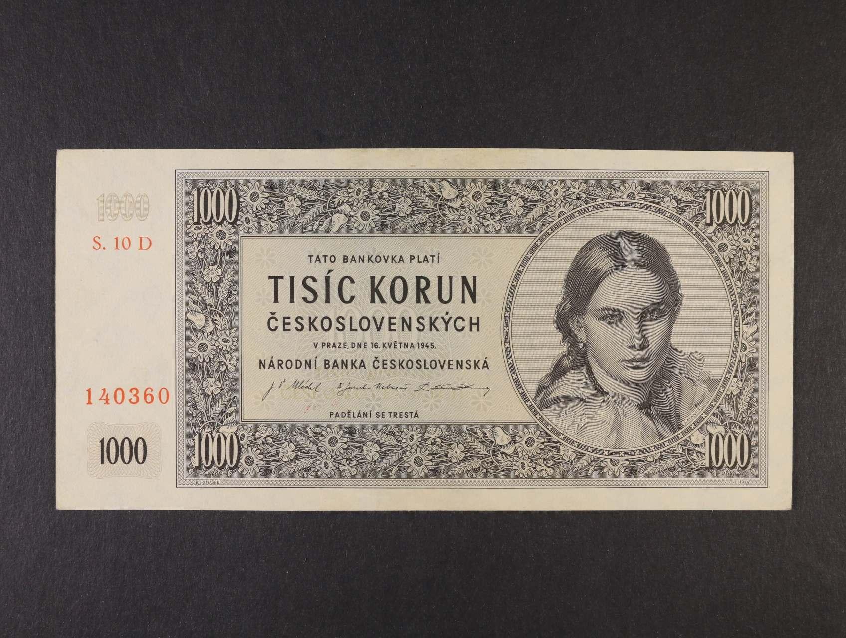 1000 Kčs 16.5.1945 série 10 D, Ba. 78c2, Pi. 74d