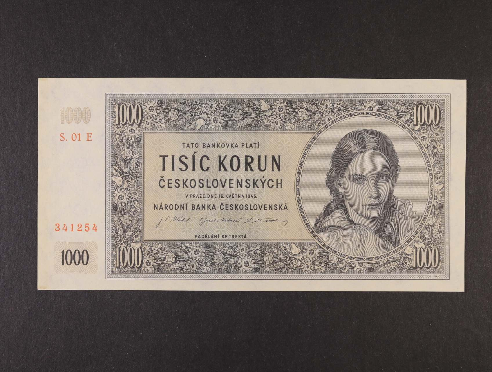 1000 Kčs 16.5.1945 série 01 E, Ba. 78d, Pi. 74d
