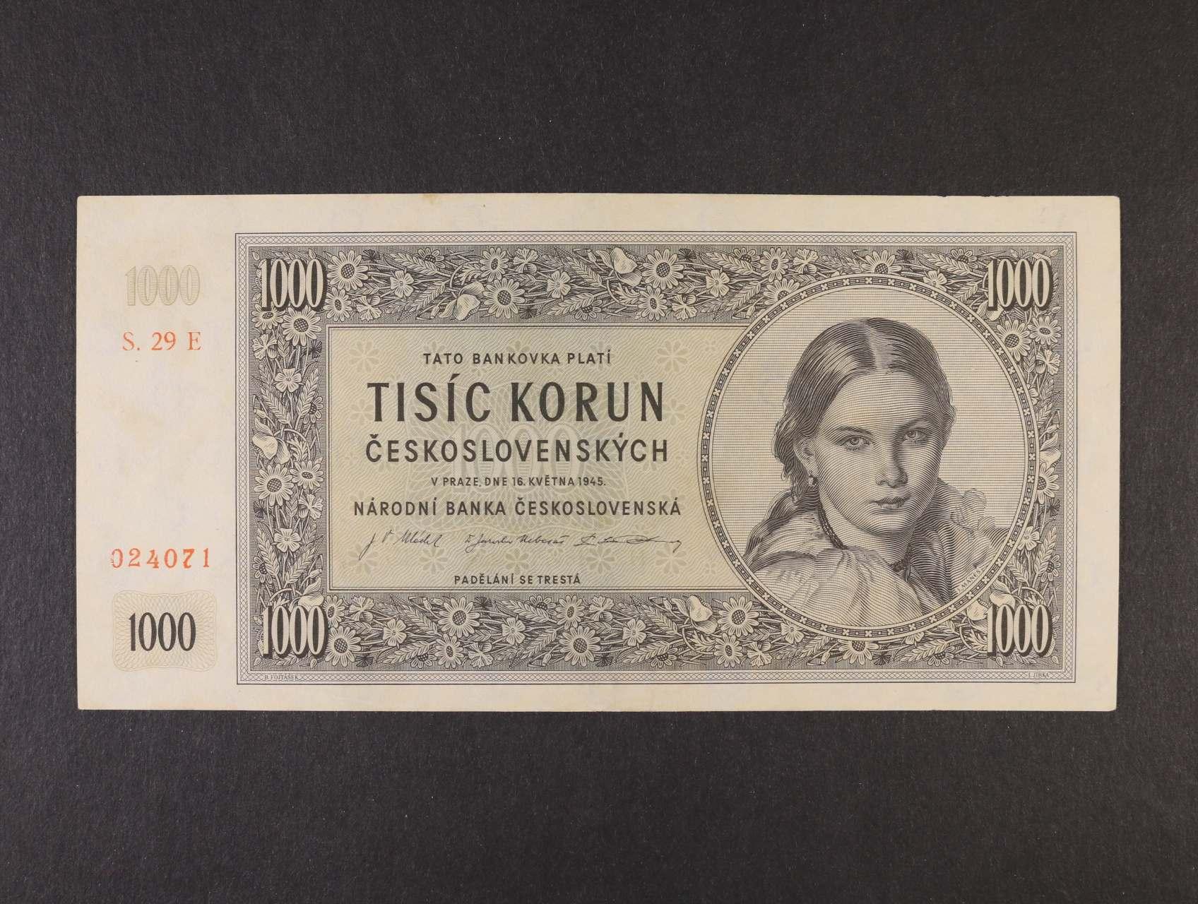 1000 Kčs 16.5.1945 série 29 E, Ba. 78d, Pi. 74d