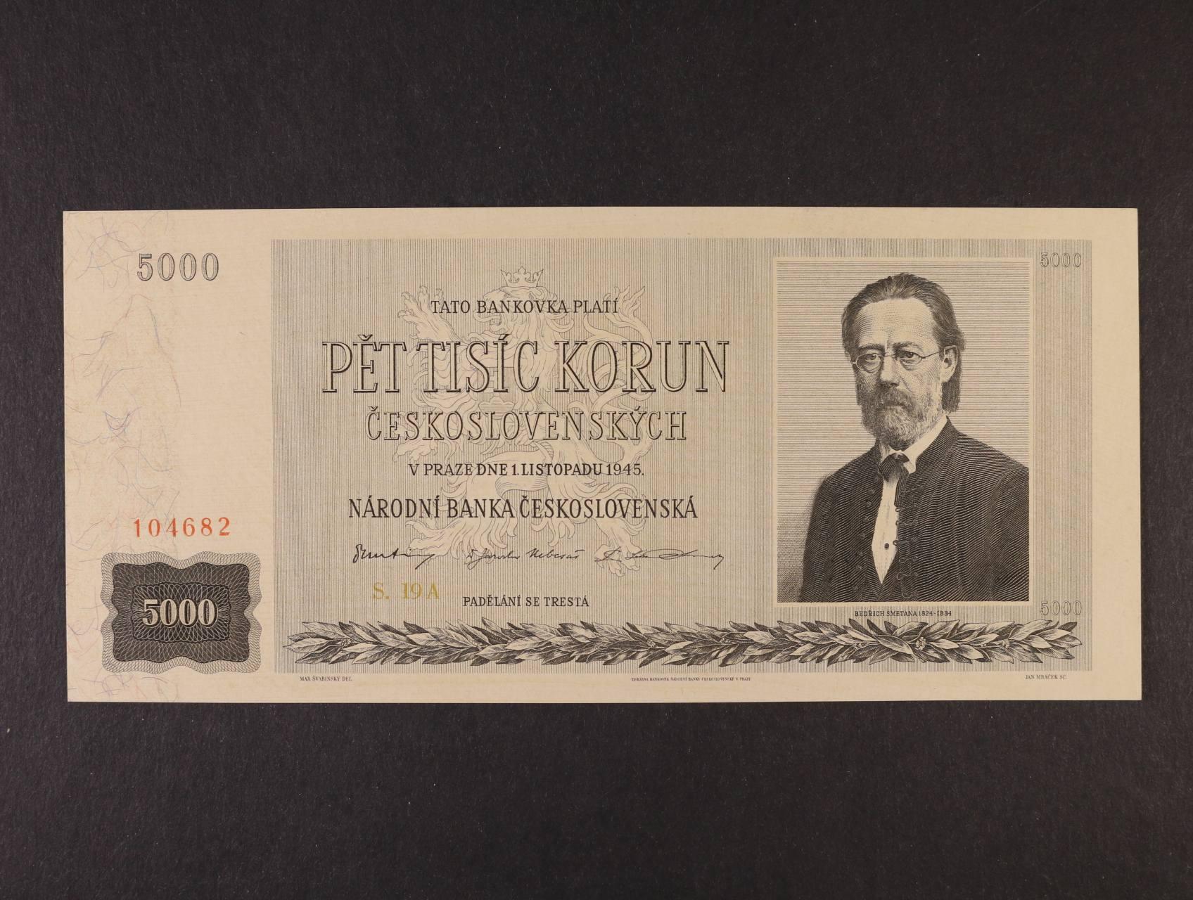 5000 Kčs 1.11.1945 série 19 A, Ba. 79, Pi. 75a