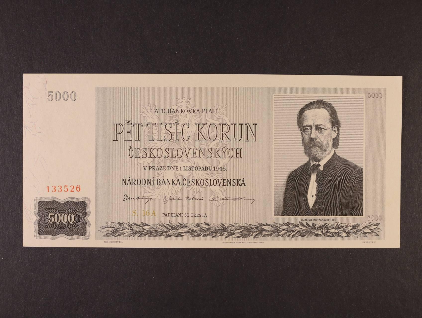 5000 Kčs 1.11.1945 série 16 A, Ba. 79, Pi. 75a