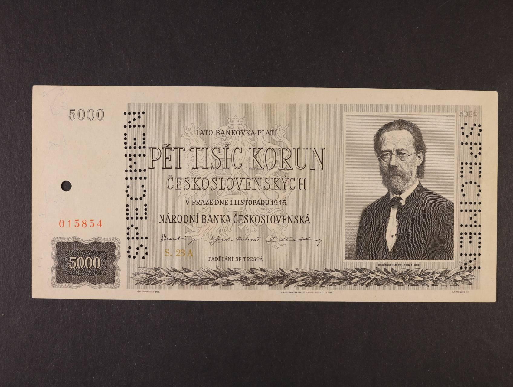 5000 Kčs 1.11.1945 série 23 A bankovní vzor s 2x svislou perf. SPECIMEN + perf. otvor, Ba. 79, Pi. 75s