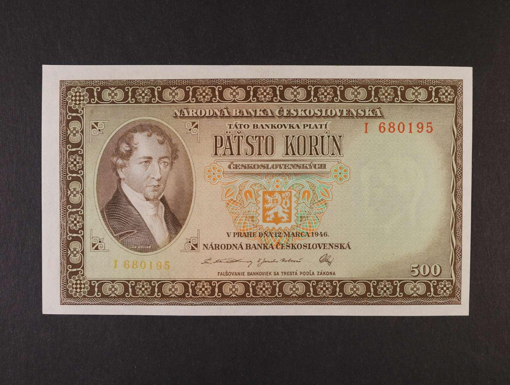 500 Kčs 12.3.1946 série I, Ba. 80a, Pi. 73a