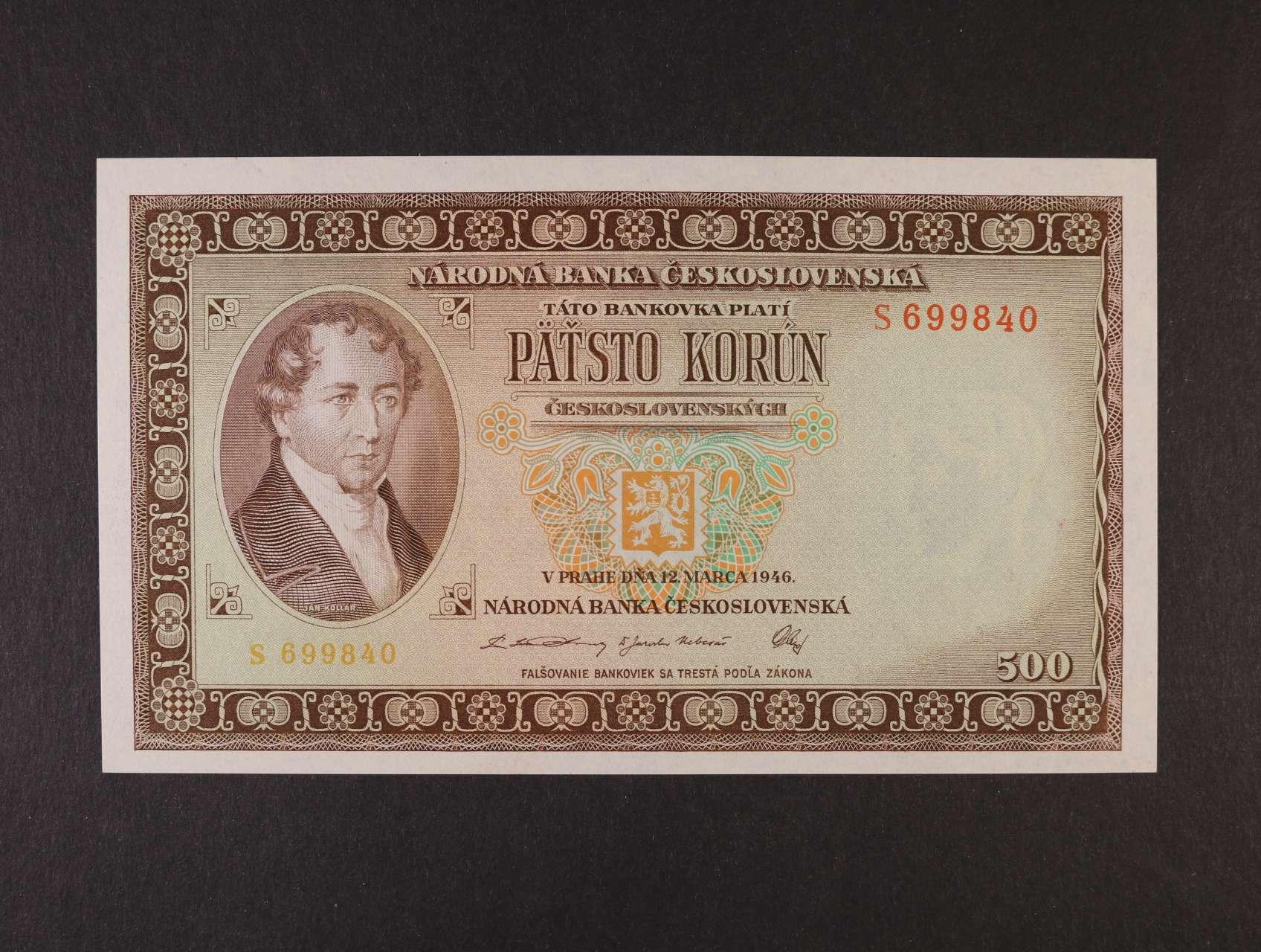 500 Kčs 12.3.1946 série S, Ba. 80a, Pi. 73a