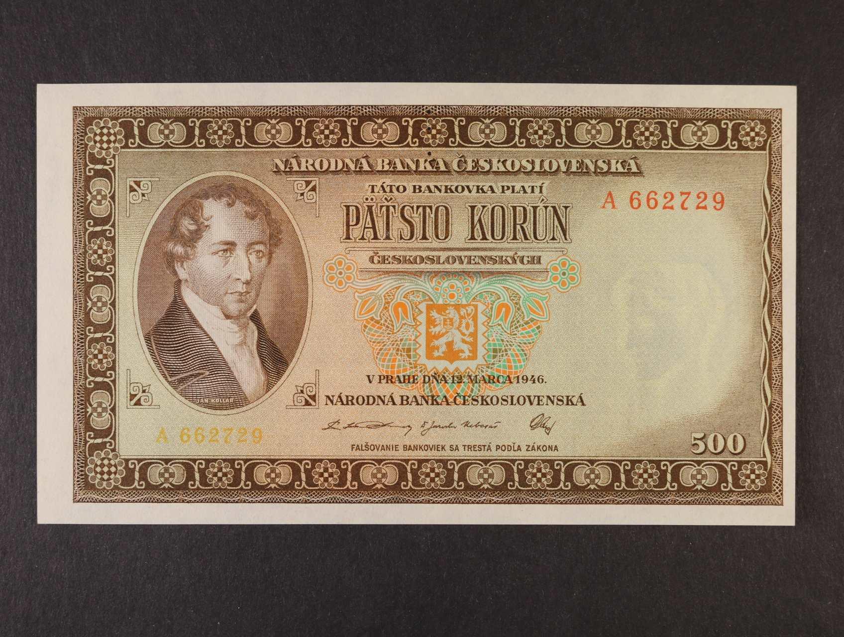 500 Kčs 12.3.1946 série A perf. 3md, Ba. 80a, Pi. 73a