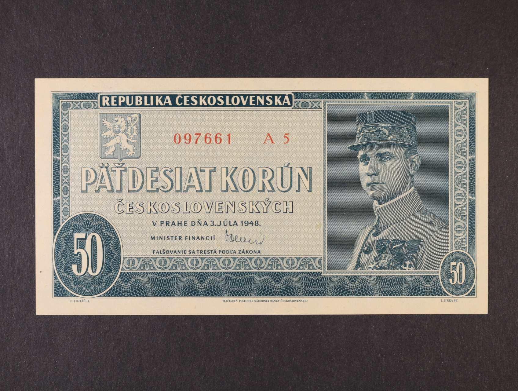 50 Kčs 3.7.1948 série A 5, Ba. 81a, Pi. 66a