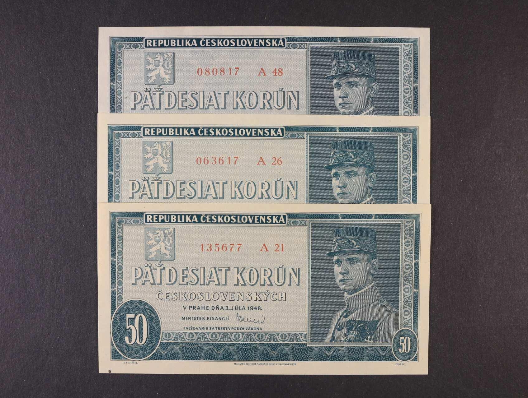 50 Kčs 3.7.1948 série A 21, 26, 48, Ba. 81b, Pi. 66a