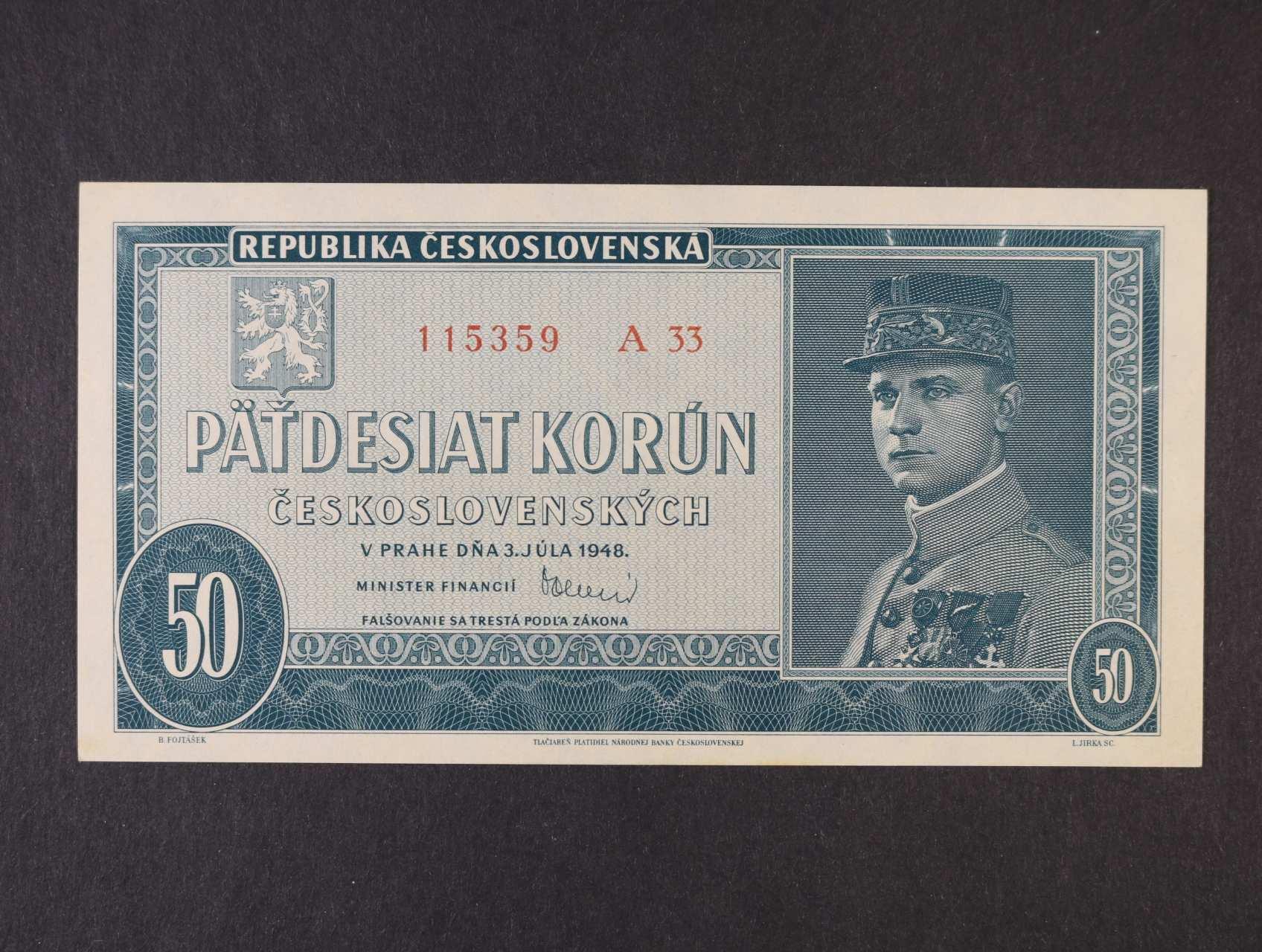 50 Kčs 3.7.1948 série A 33, Ba. 81b, Pi. 66a