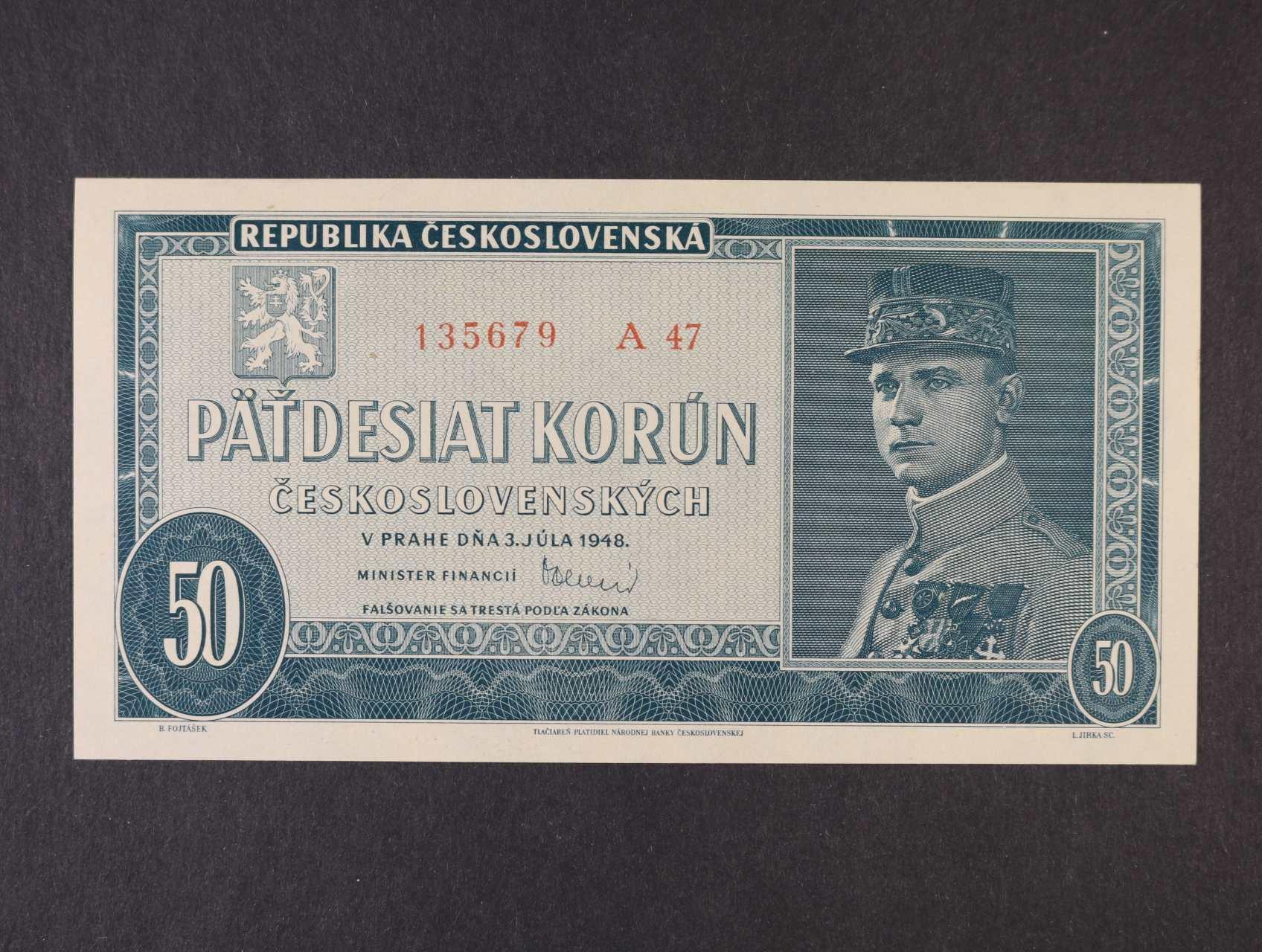 50 Kčs 3.7.1948 série A 47, Ba. 81b, Pi. 66a