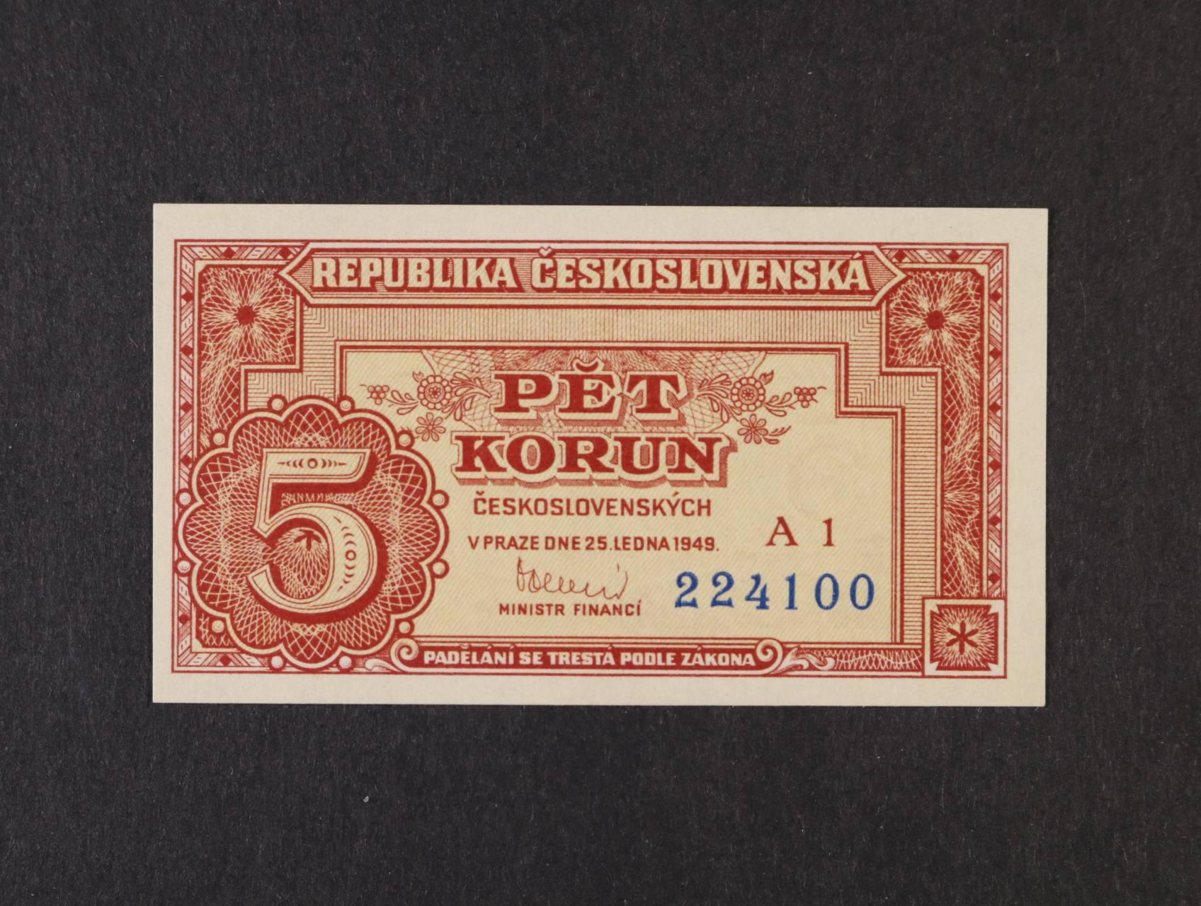 5 Kčs 25.1.1949 série A 1, Ba. 82a, Pi. 68a