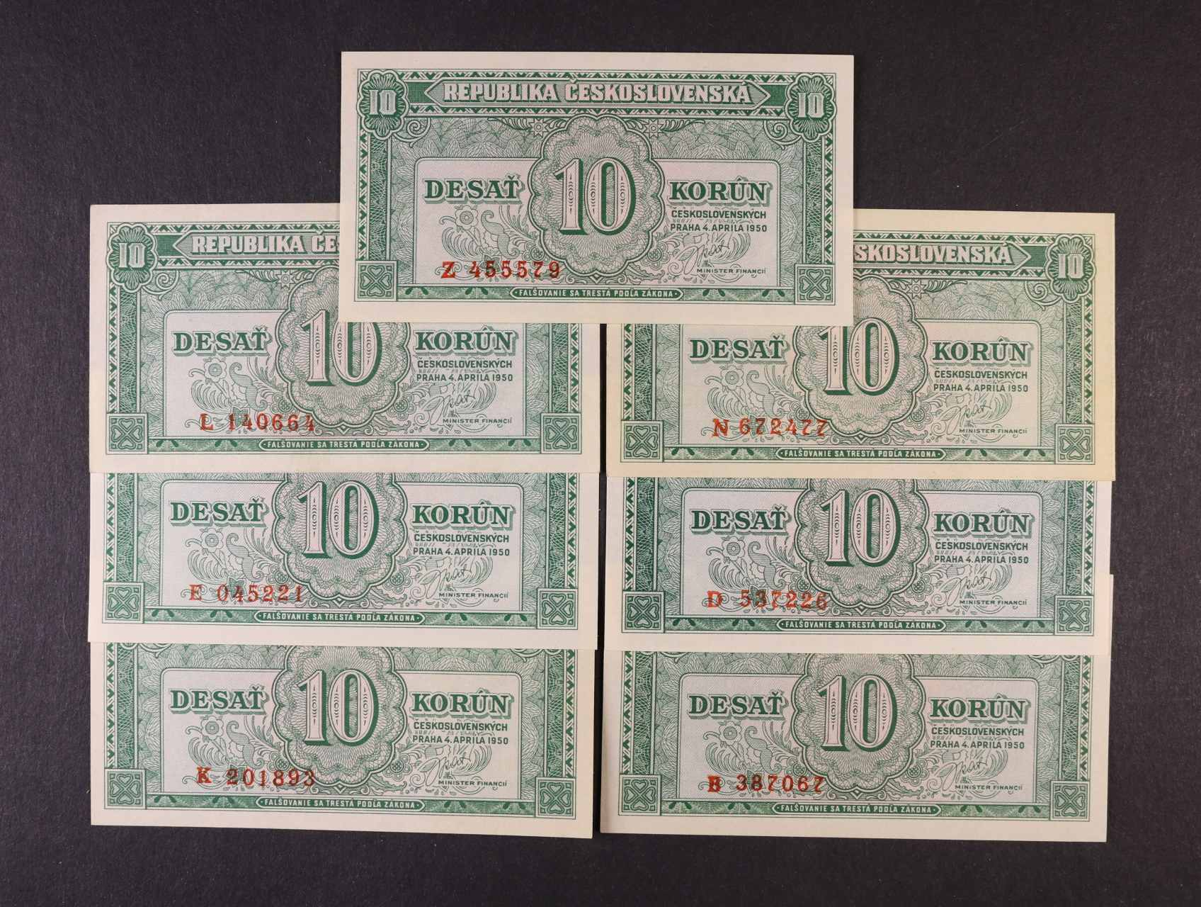 10 Kčs 4.4.1950 série B, D, E, K, L, N, Z, Ba. 84a, Pi. 69a, 7ks