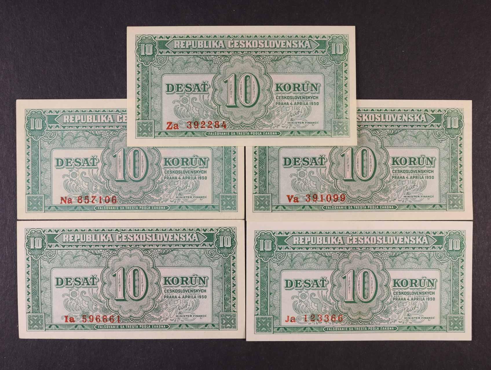 10 Kčs 4.4.1950 série Ia, Ja, Na, Va, Za, Ba. 84b, Pi. 69a, 3ks
