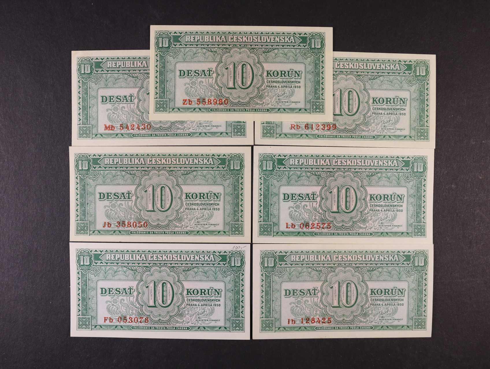 10 Kčs 4.4.1950 série Fb, Ib, Jb, Lb, Mb, Rb, Zb, Ba. 84b, Pi. 69a, 7ks