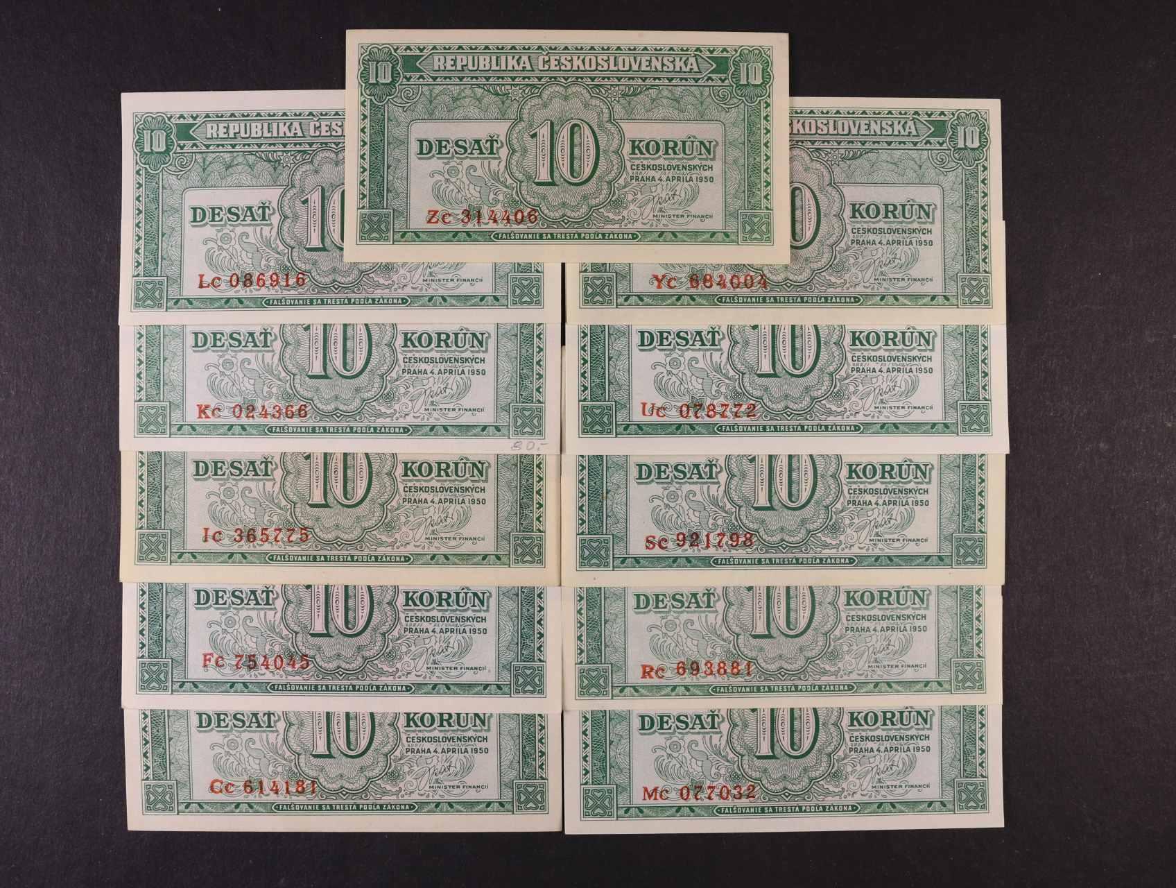 10 Kčs 4.4.1950 série Cc, Fc, Ic, Kc, Lc, Mc, Rc, Sc, Uc, Yc, Zc, Ba. 84b, Pi. 69a, 11ks