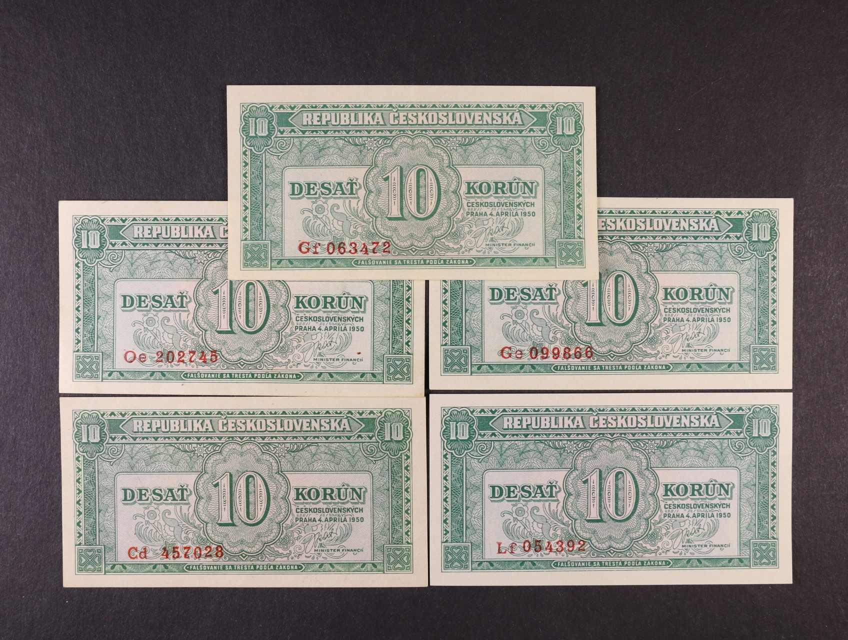 10 Kčs 4.4.1950 série Cd, Ge, Oe, Lf, Gf, Ba. 84b, Pi. 69a, 5ks