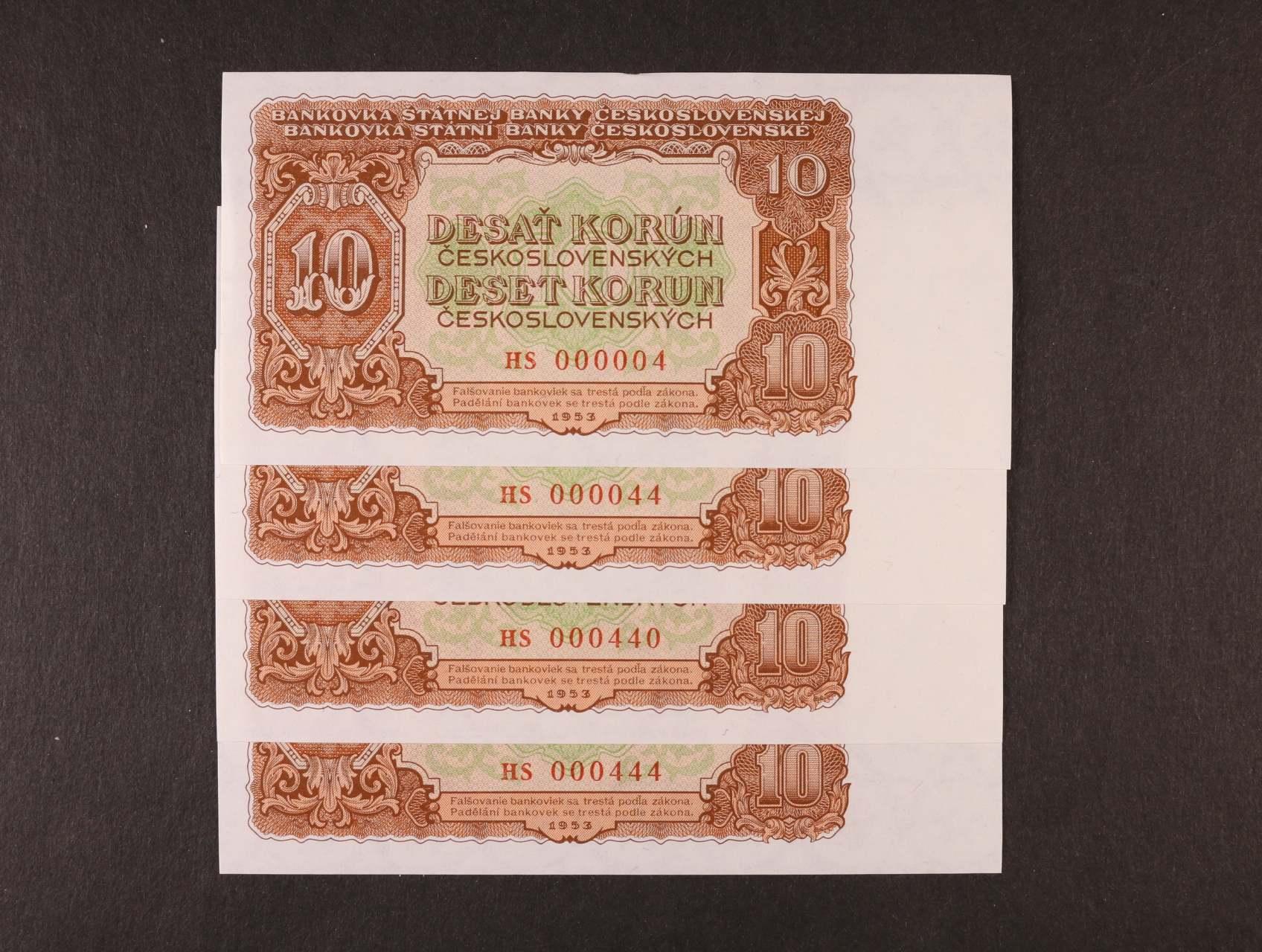 10 Kčs 1953 série HS 000004, 000044, 000440, 000444, zajímavá čísla, Ba. 89b, Pi. 83b, 4ks