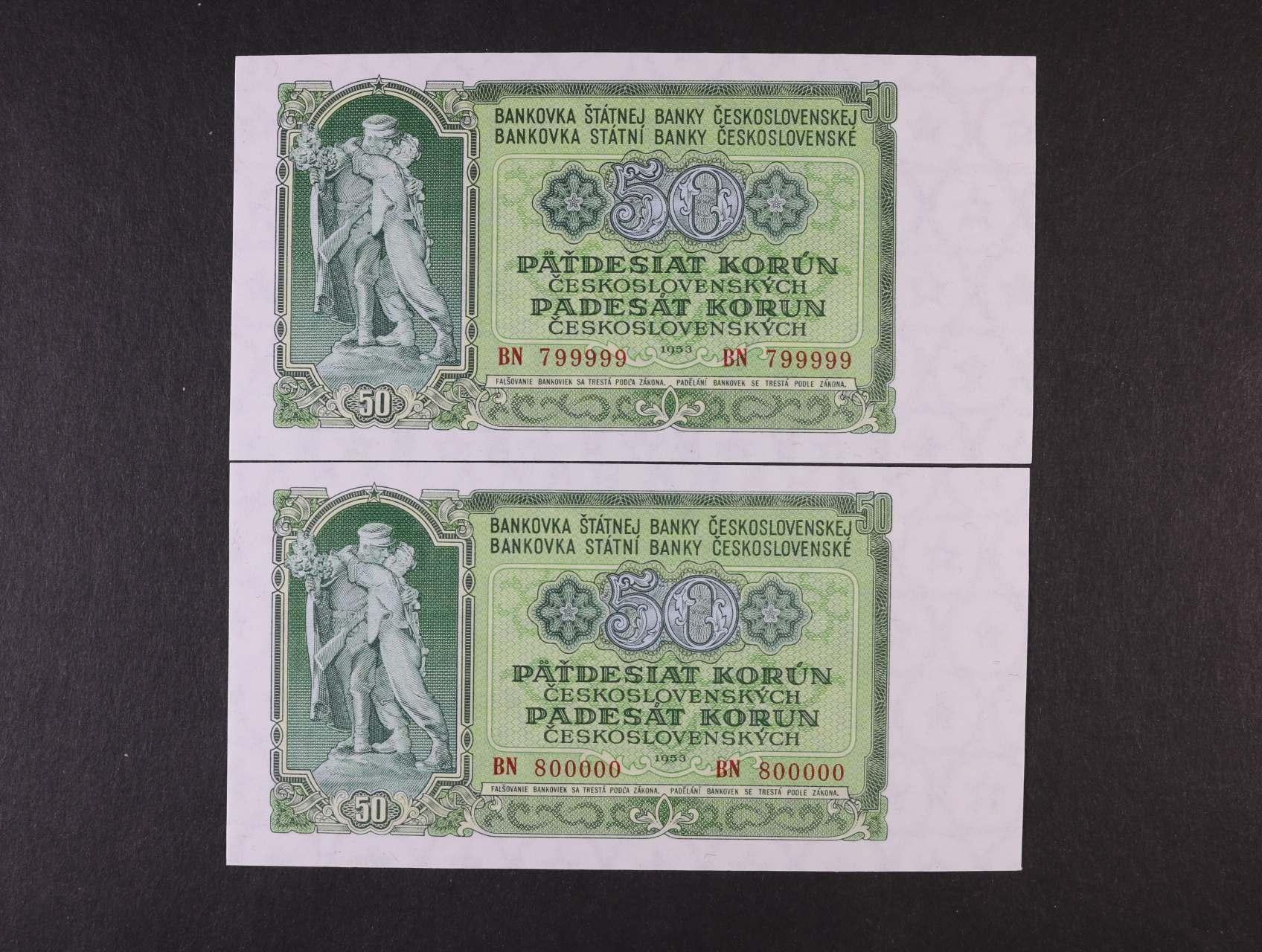 50 Kčs 1953 série BN 799999 a BN 800000, zajímavá čísla, Ba. 91a, Pi. 85a
