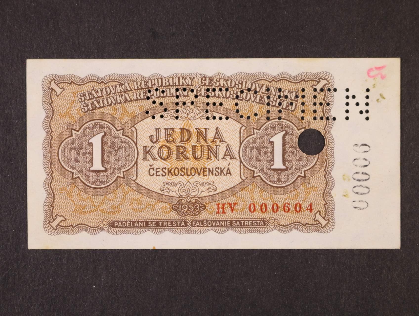 1 Kčs 1953 série HV bankovní vzor s perf. SPECIMEN + perf. otvor a s dotištěným číslem 00006, Ba. 86b, Pi. 78s, Kar. 84c