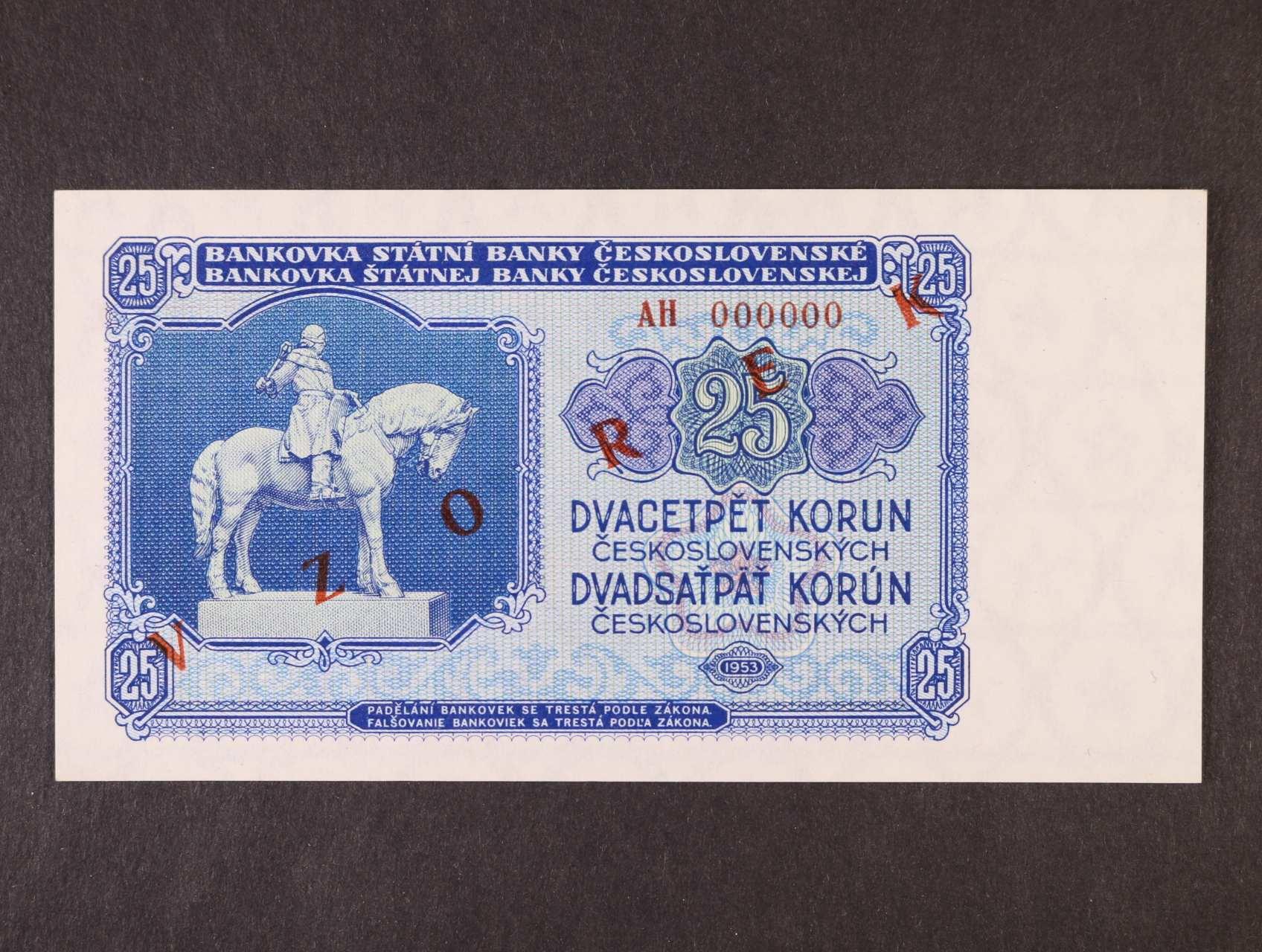 25 Kčs 1953 anulát série AH s přetiskem VZOREK, Ba. 90s, Pi. 84s, Kar. 88/a