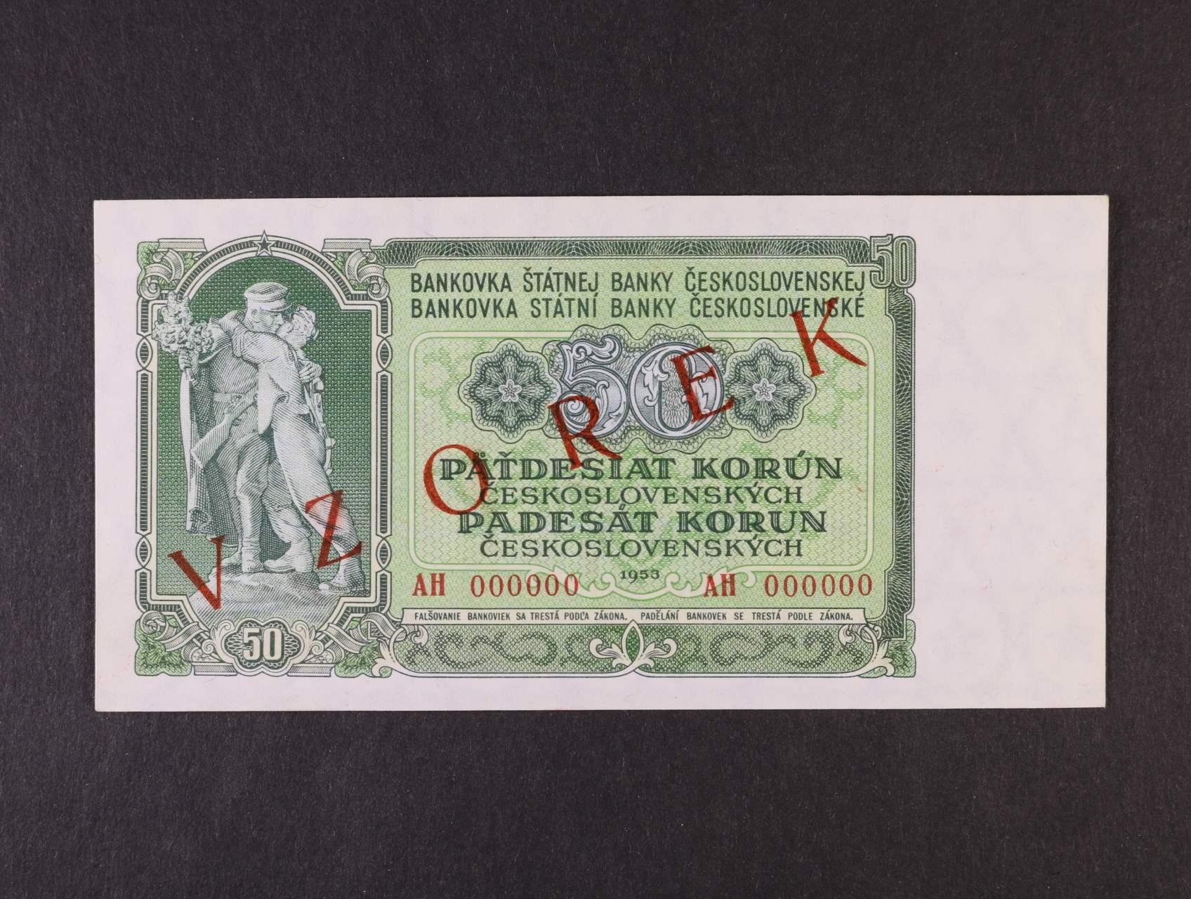 50 Kčs 1953 anulát série AH s přetiskem VZOREK, Ba. 91s, Pi. 85s