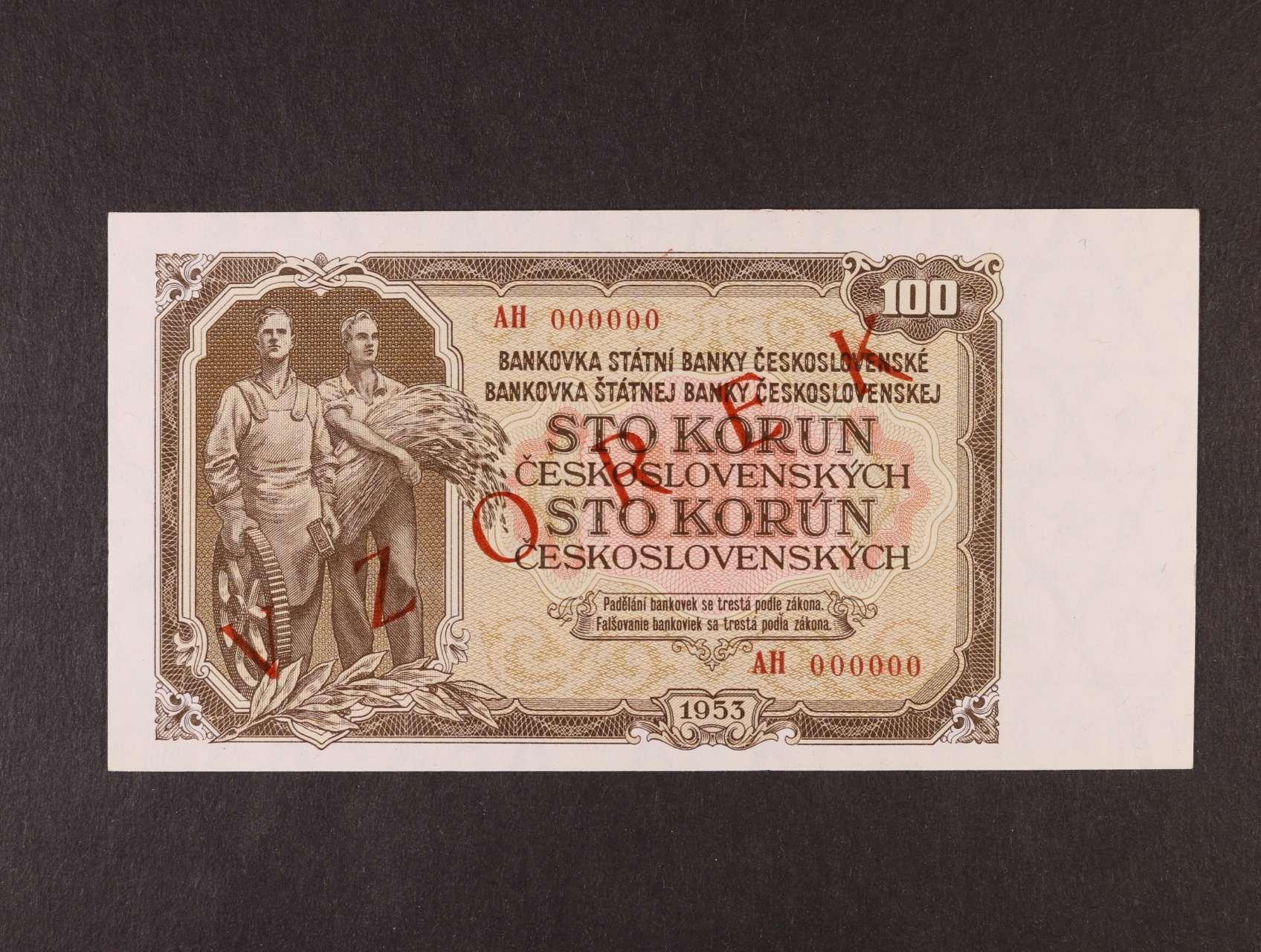 100 Kčs 1953 anulát série AH s přetiskem VZOREK, Ba. 92s,  Kar. 90a, Pi. 86s