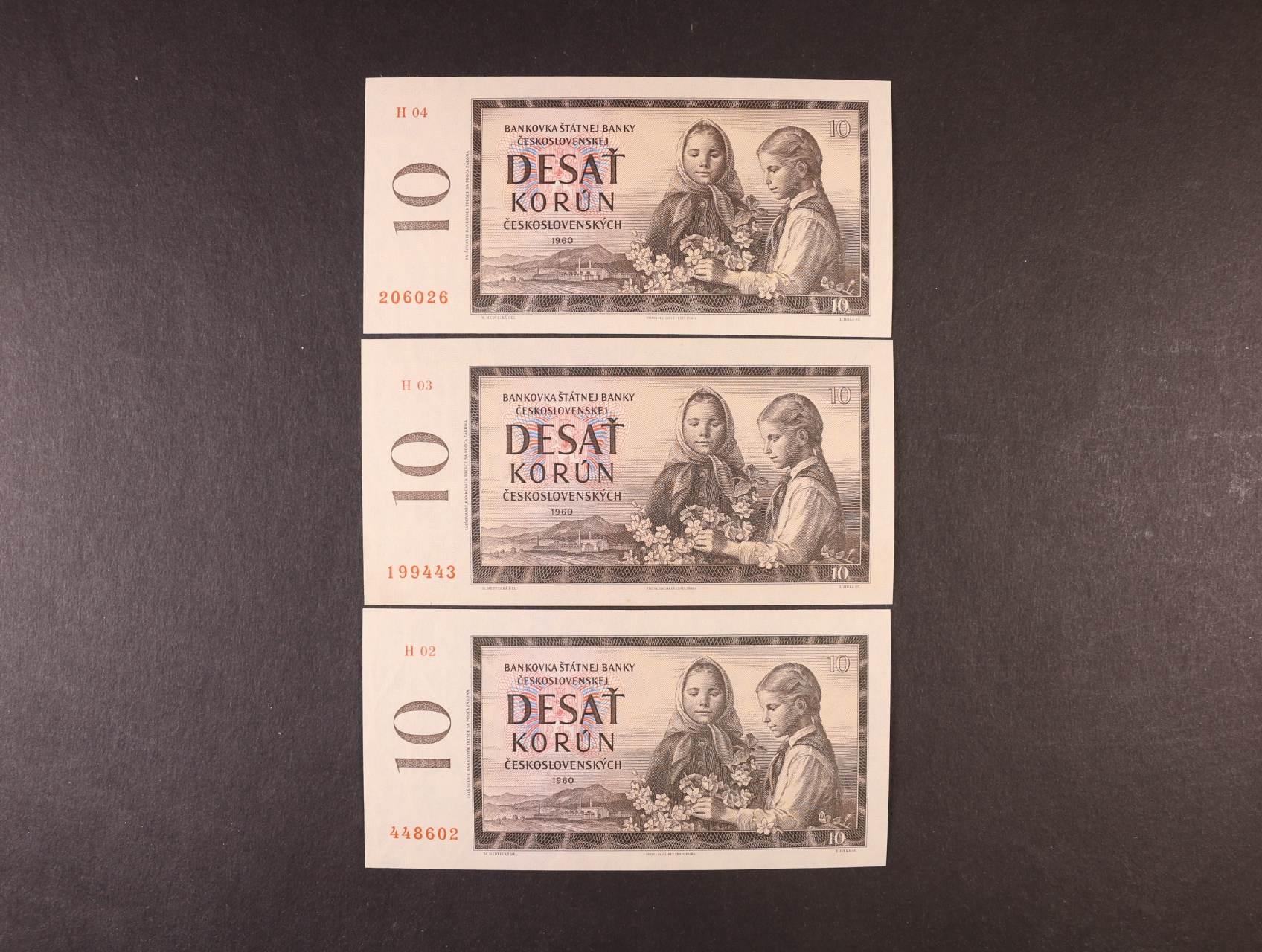 10 Kčs 1960 série H 02, 03, 04, Ba. 94a1, Pi. 88a, 3ks