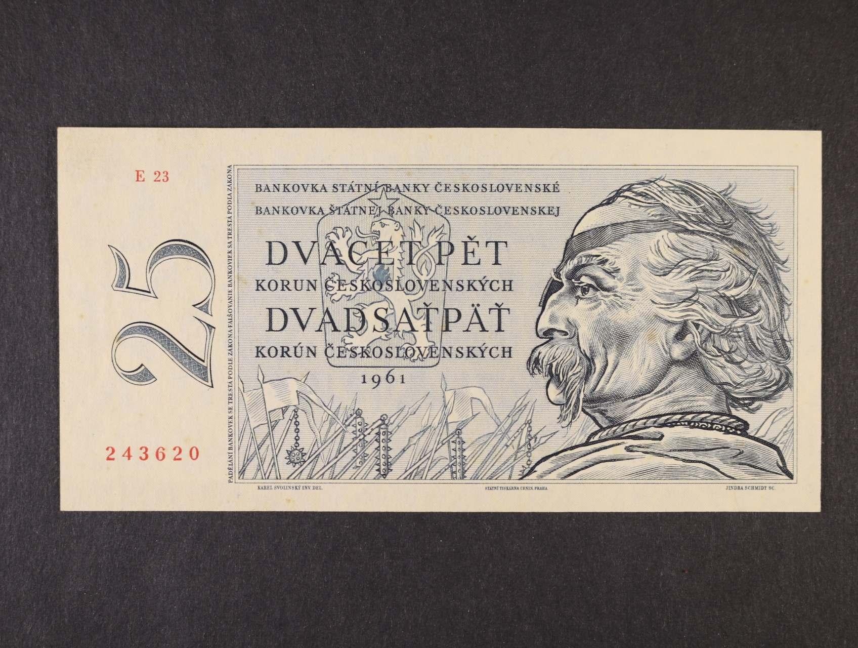 25 Kčs 1961 série E 23, Ba 97a, Pi 89a