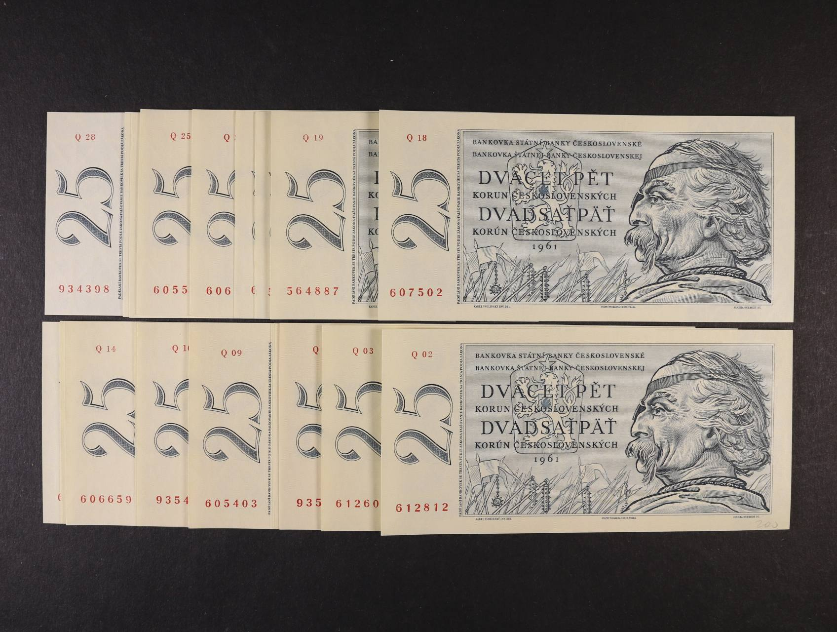 25 Kčs 1961 série Q 02, 03, 04, 05, 06, 07, 08, 09, 10, 13, 14, 15, 16, 18, 19, 20, 21, 22, 25, 26, 27, 28, Ba . 97b, Pi. 89a, 22ks