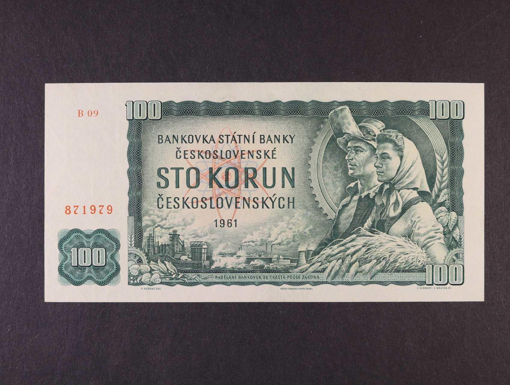 100 Kčs 1961 série B 09, vodoznaková výztuž líci bankovky, Ba. 98a1, Pi. 91