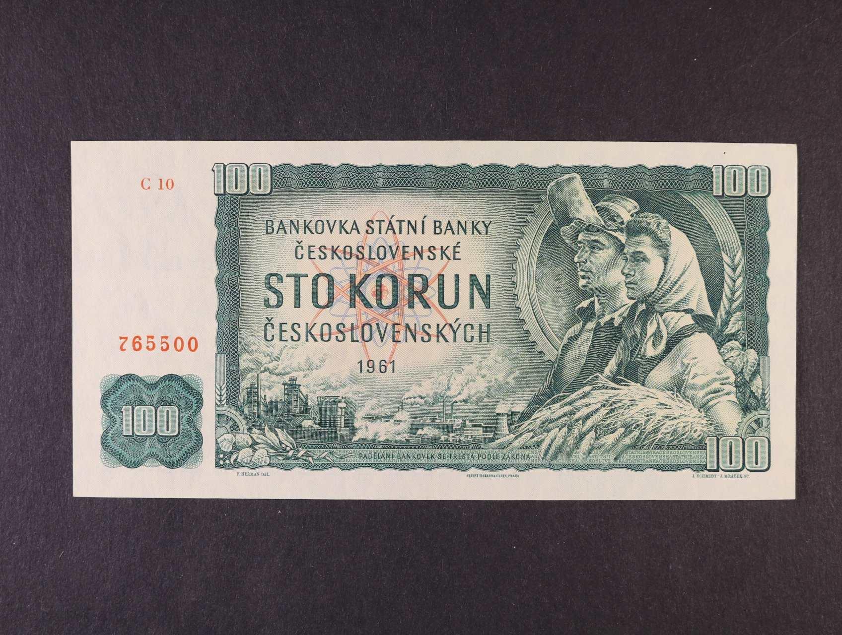 100 Kčs 1961 série C 10, Ba. 98a1, Pi. 91, vodoznaková výztuž na rubu bankovky