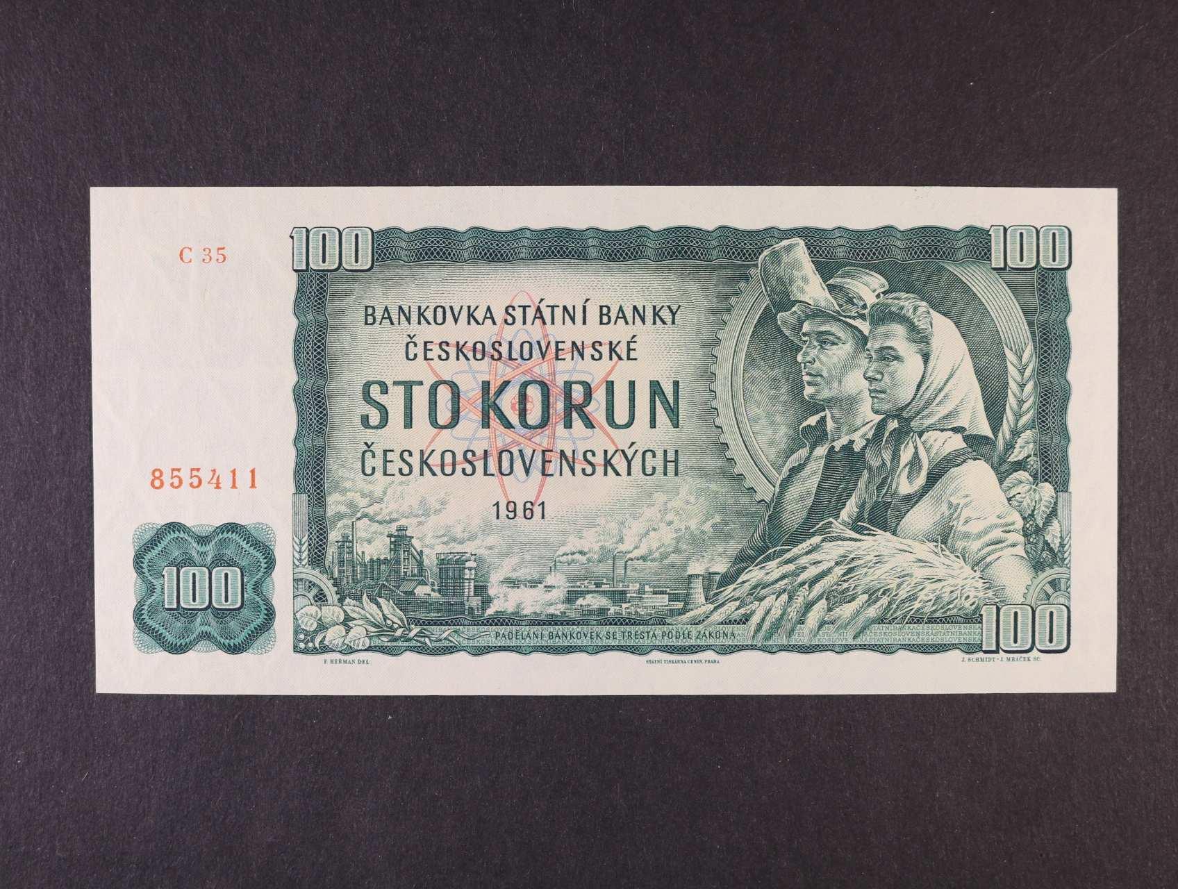 100 Kčs 1961 série C 35, Ba. 98a1, Pi. 91, vodoznaková výztuž na líci bankovky