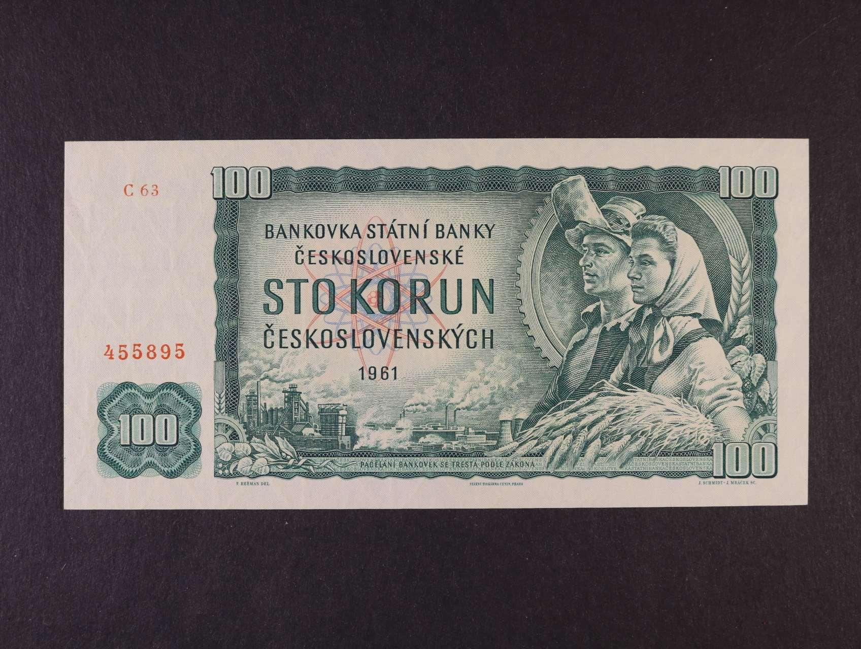 100 Kčs 1961 série C 63, Ba. 98a1, Pi. 91, vodoznaková výztuž na líci bankovky